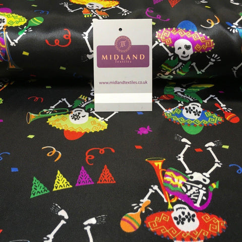 "Black Satin Printed Mexican Halloween Skeleton Fabric 58"" Wide MH950 Mtex"