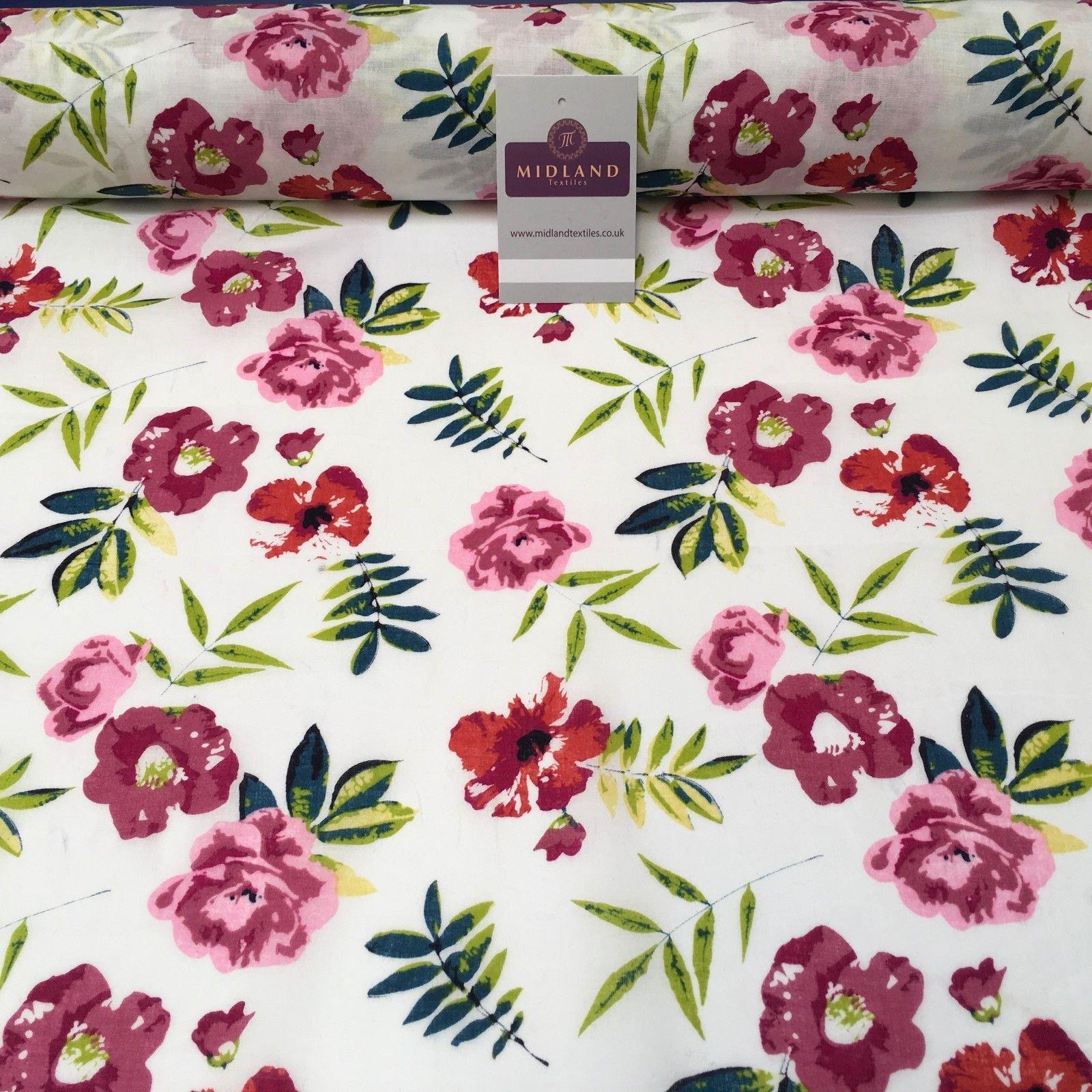 "White Floral Printed Cotton Lawn Dress Fabric 58"" Wide MH951 Mtex"