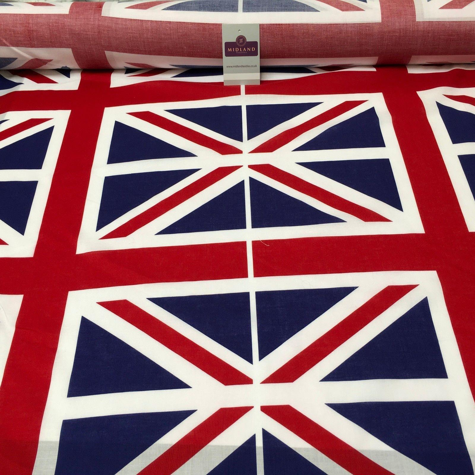 9 Union Jack Flags 100% Cotton Printed Panel craft Fabric MH926 Mtex