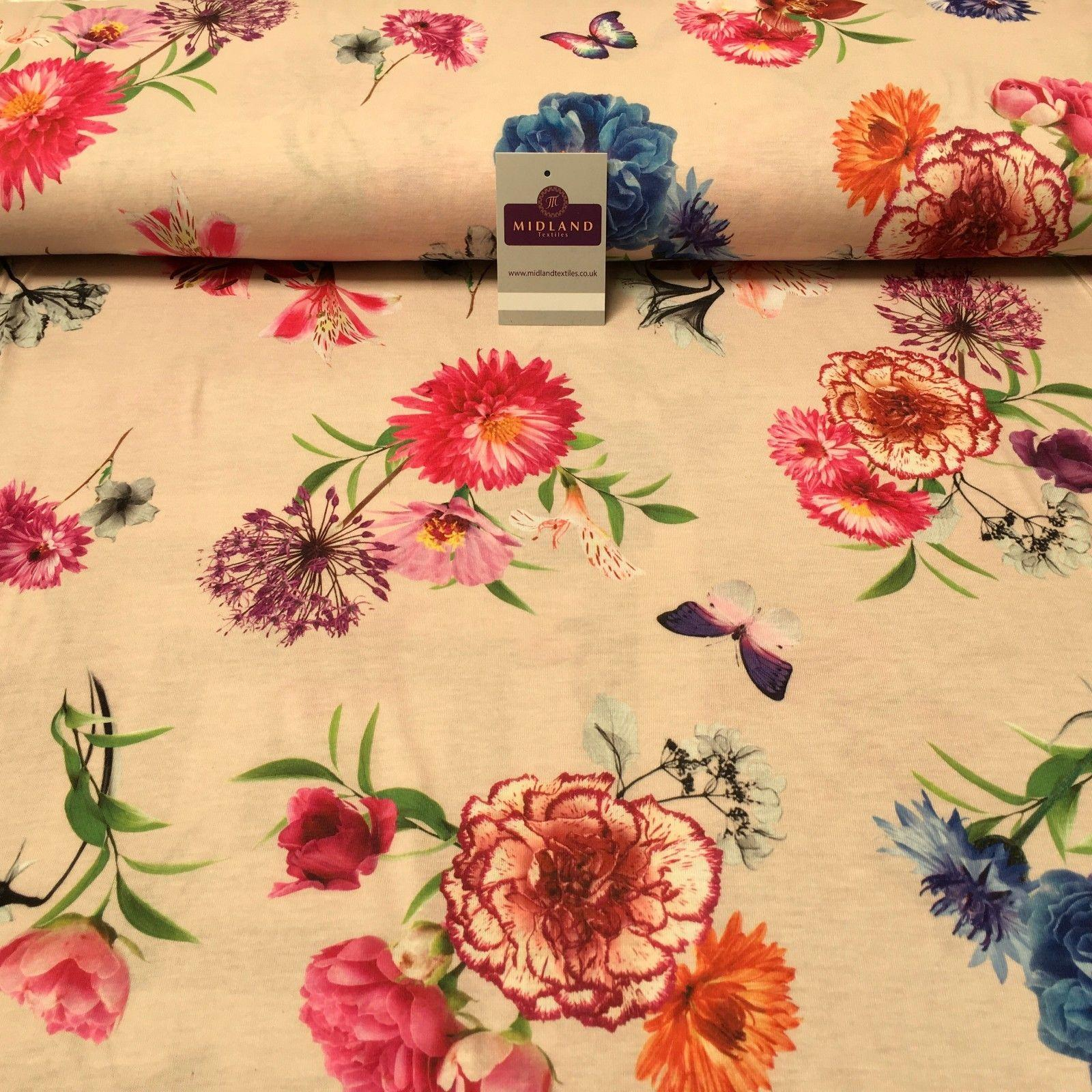 "Pale Pink Floral Printed Cotton Jersey Dress Fabric 55"" Wide MK923-6 Mtex"