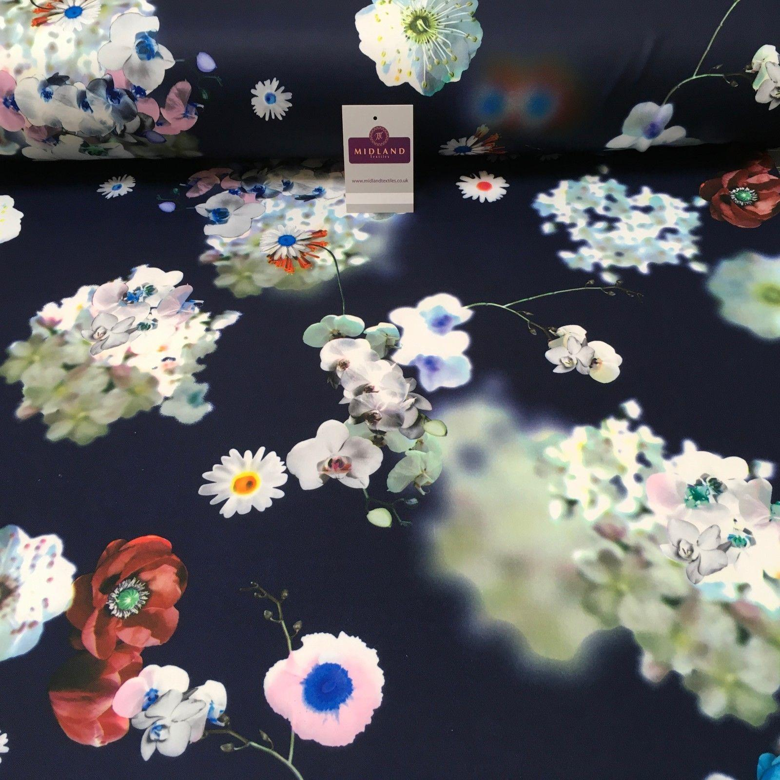 "Navy Floral Printed Scuba Jersey Dress Fabric 55"" Wide MK923-4 Mtex"