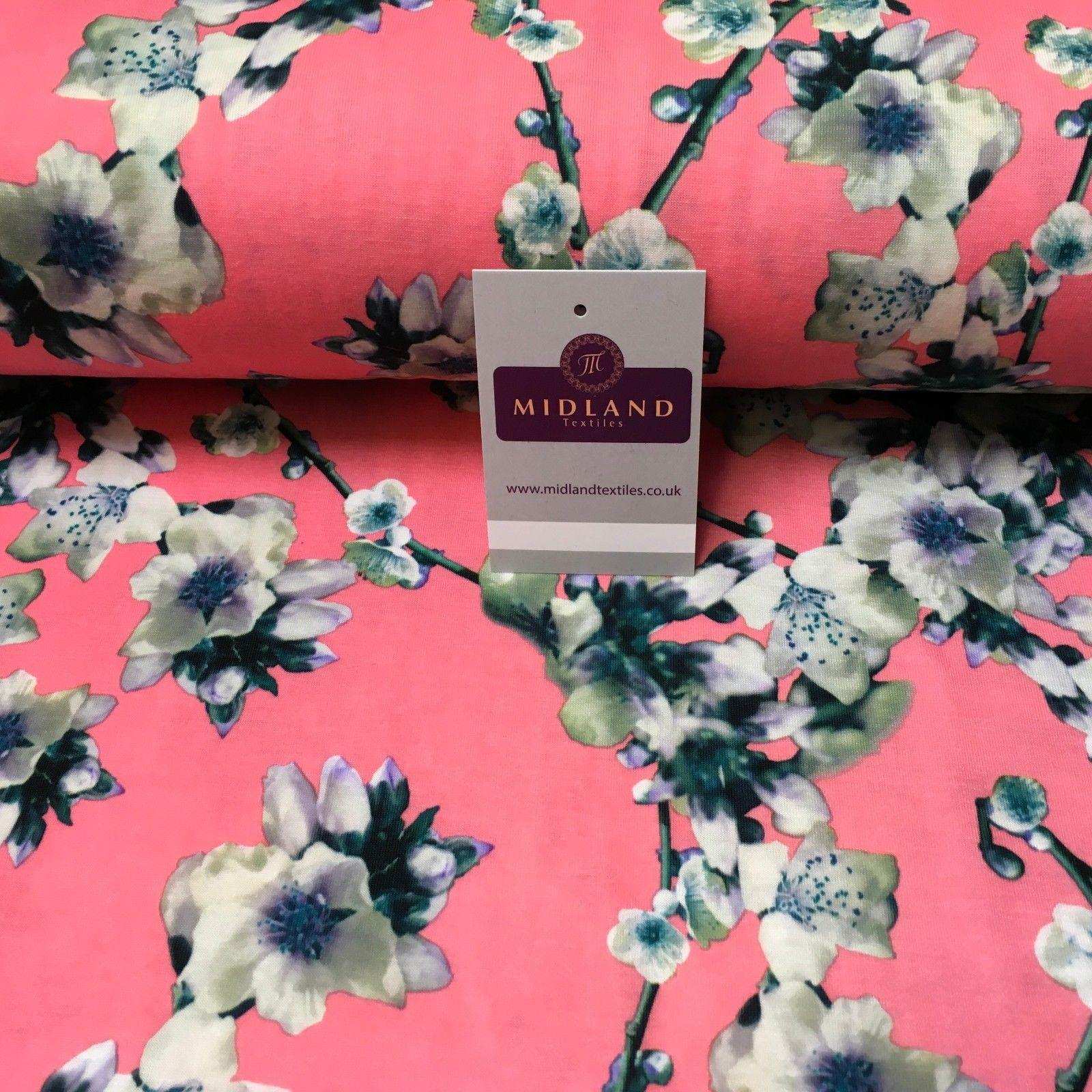 "Candy Pink Floral Printed Cotton Jersey Dress Fabric 55"" Wide MK923-2 Mtex"