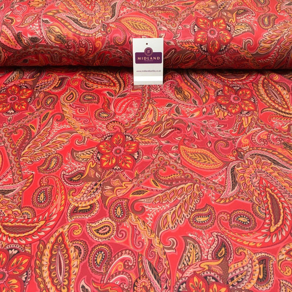 "Deep Red Paisley Printed Scuba Jersey dress Fabric 55"" Wide MK923-1 Mtex"