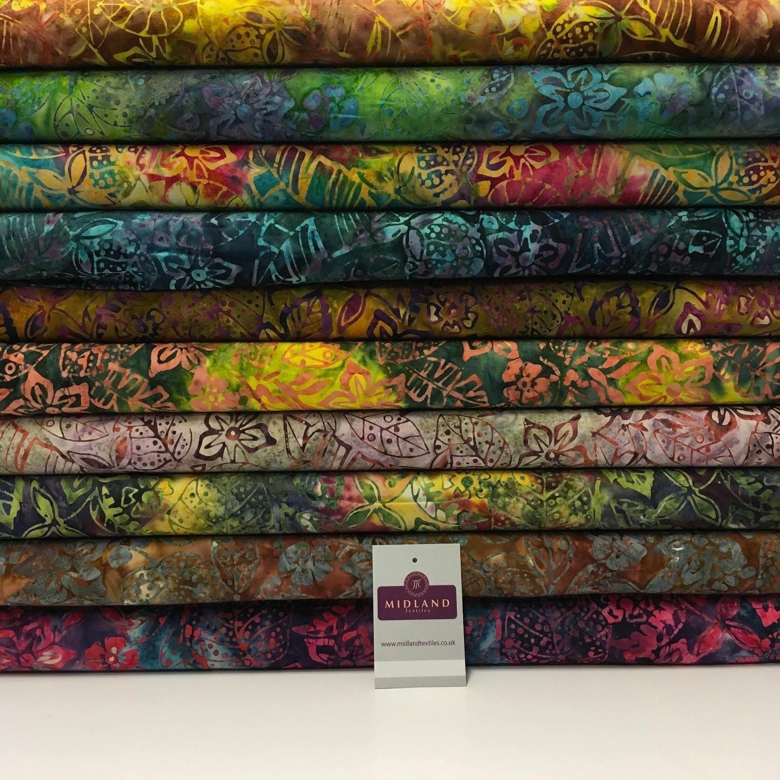 "Bali Batik Autumn Leaves Printed 100% Cotton Patchwork fabric 44"" Wide MK906"