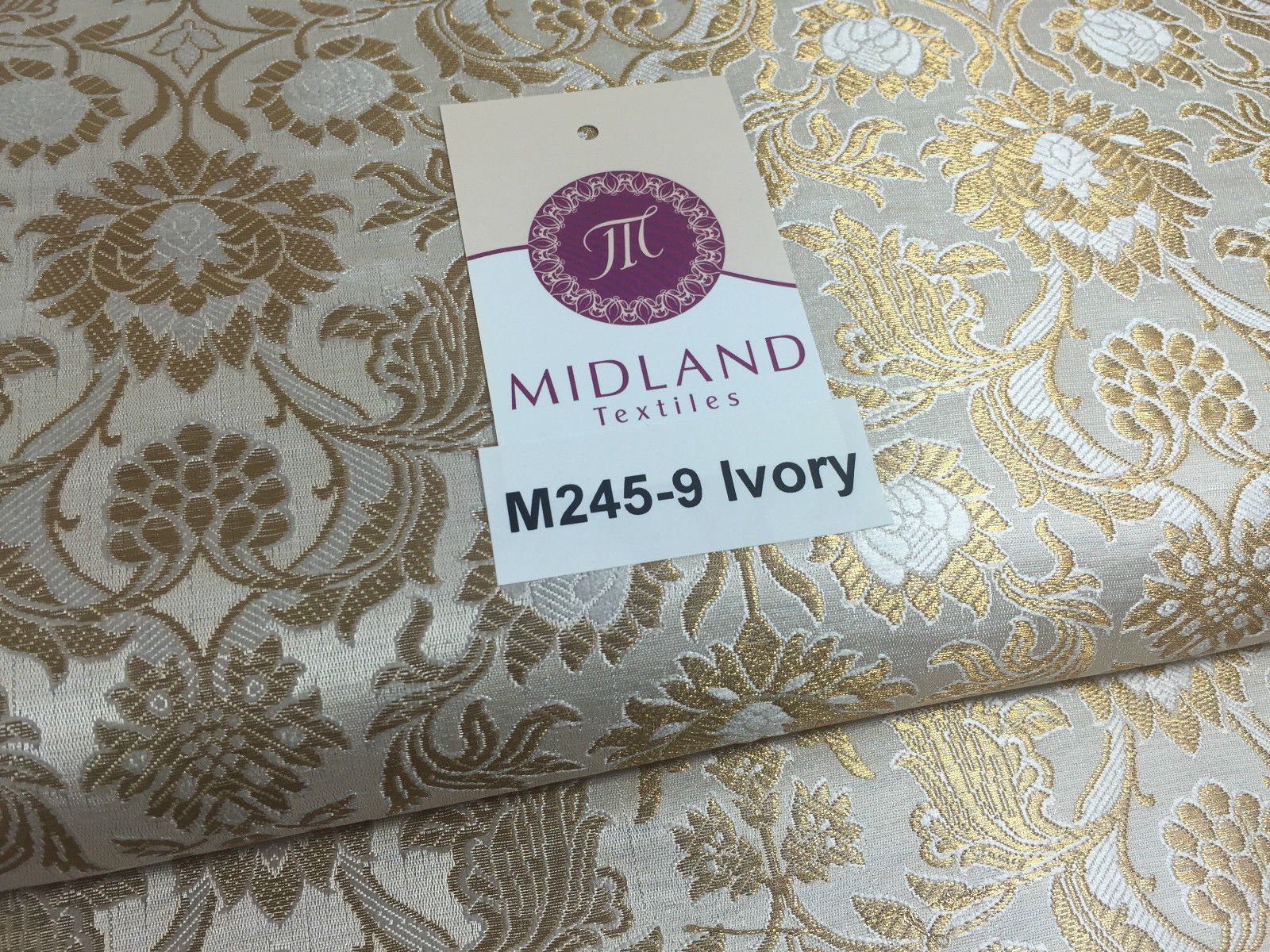 "Indian Banarsi Gold Floral Faux Silk Brocade 43"" Wide M245 Mtex"