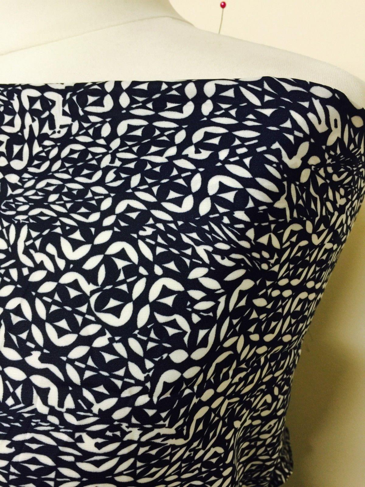 "Navy and White aztec print silky polyester Satin crepe fabric 58"" Wide M145-30"
