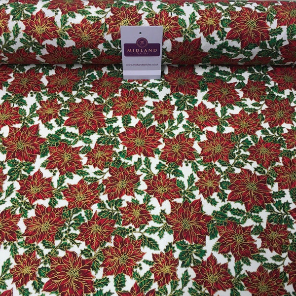 "Ivory red gold Floral Festive Flowers Printed 100% Cotton fabric 58"" MH980 Mtex"