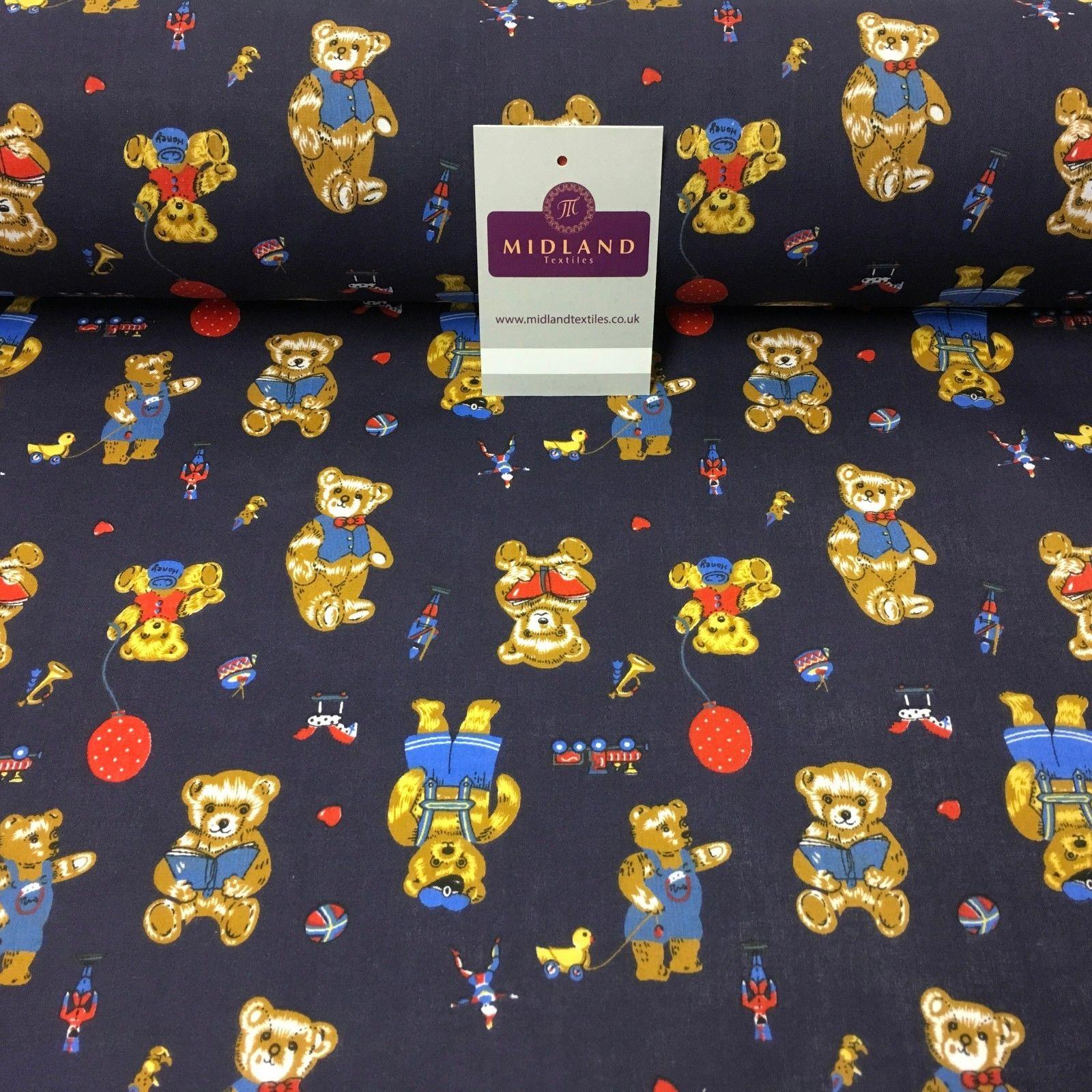 "Navy Novelty Teddy with balloon Printed Polycotton fabric 45"" Wide MH982 Mtex"