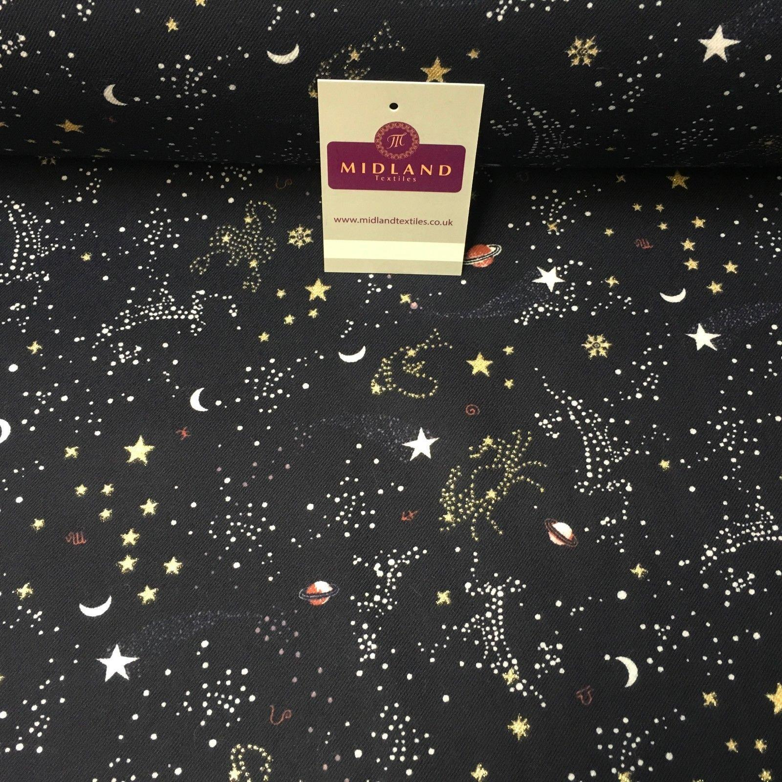 Navy star moon milky way Brushed Cotton wincyette Soft  Flannel Fabric MK988-21