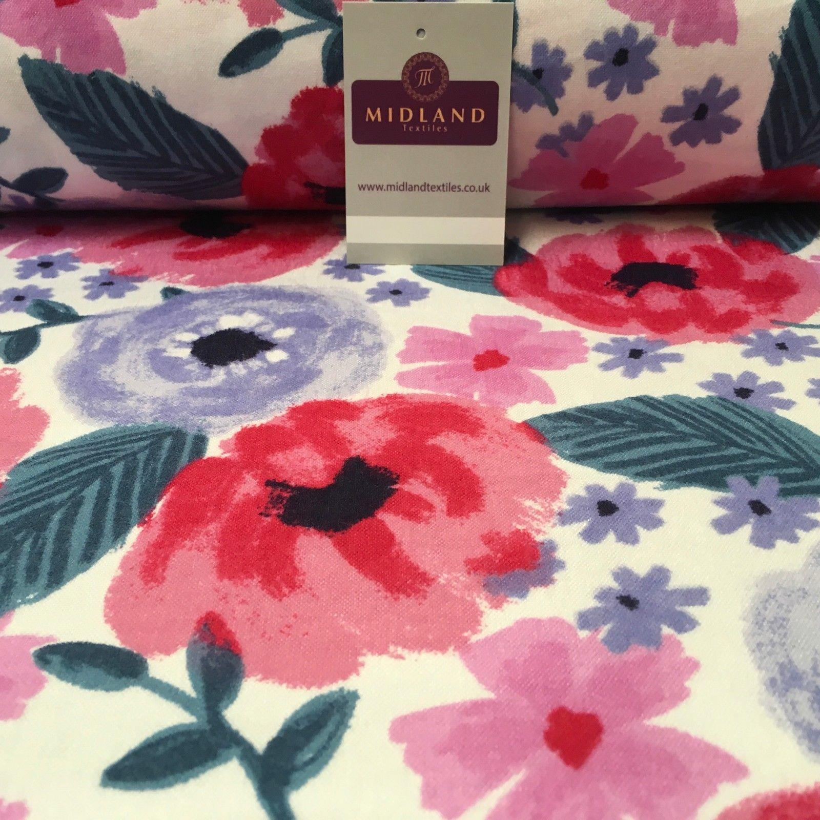 "White Large Floral Cotton Wynciette Soft Brushed Flannel Fabric 44"" MK988-19"