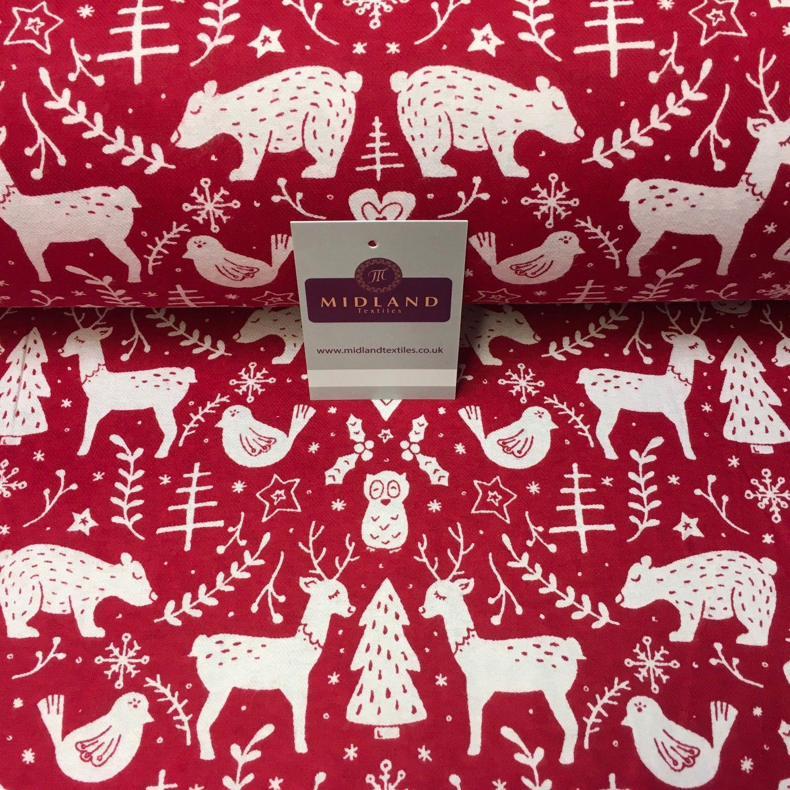 "Red Christmas Theme Cotton Wynciette Soft Brushed Flannel Fabric 56"" MK988-16"