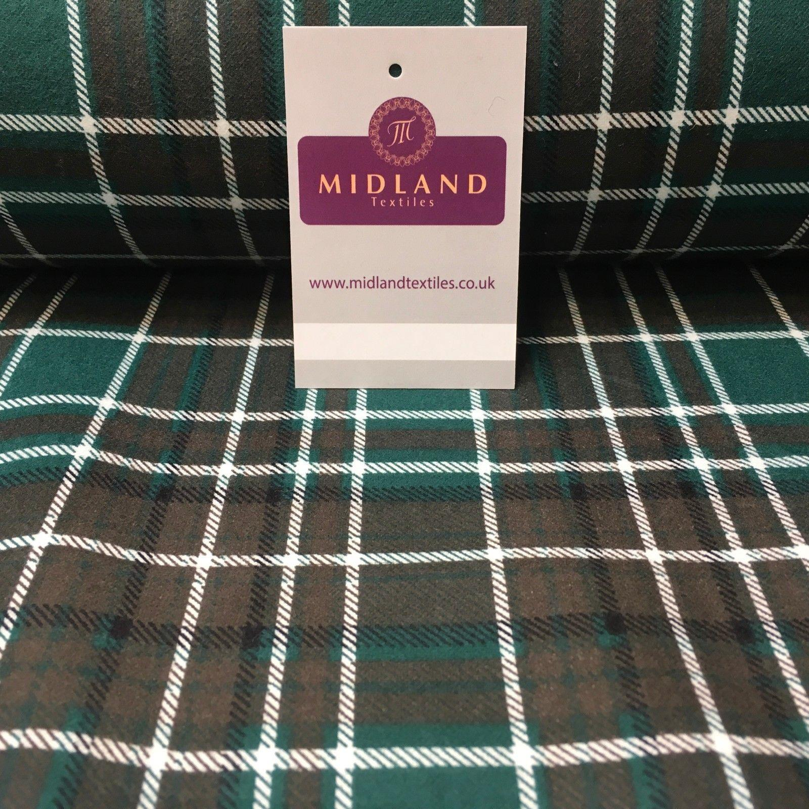 "Brown & Green Tartan Cotton Wynciette Soft Brushed Flannel Fabric 44"" MK988-17"