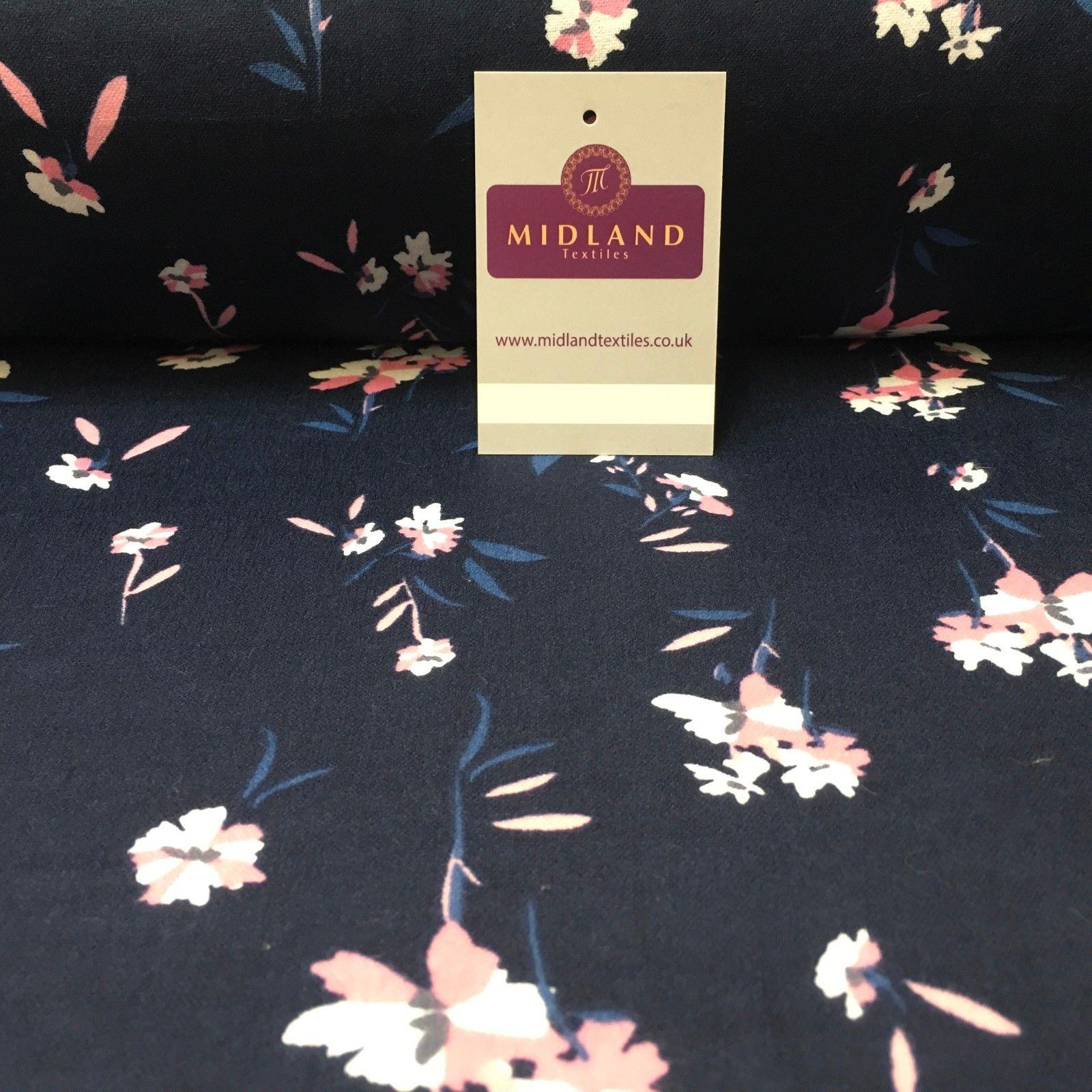 "Navy Floral Cotton Wynciette Soft Brushed Flannel Fabric 56"" Wide MK988-12"