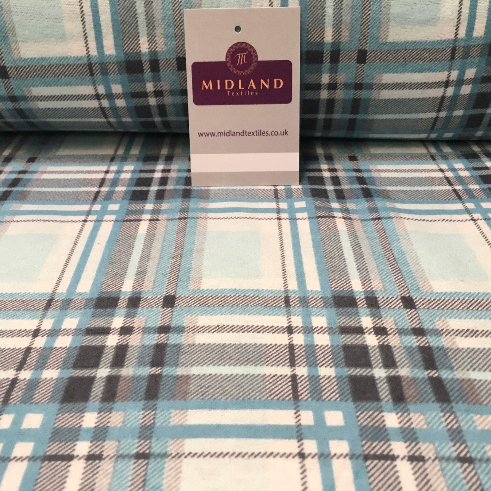 "Blue Tartan Check Cotton Wynciette Soft Brushed Flannel Fabric 50"" Wide MK988-10"