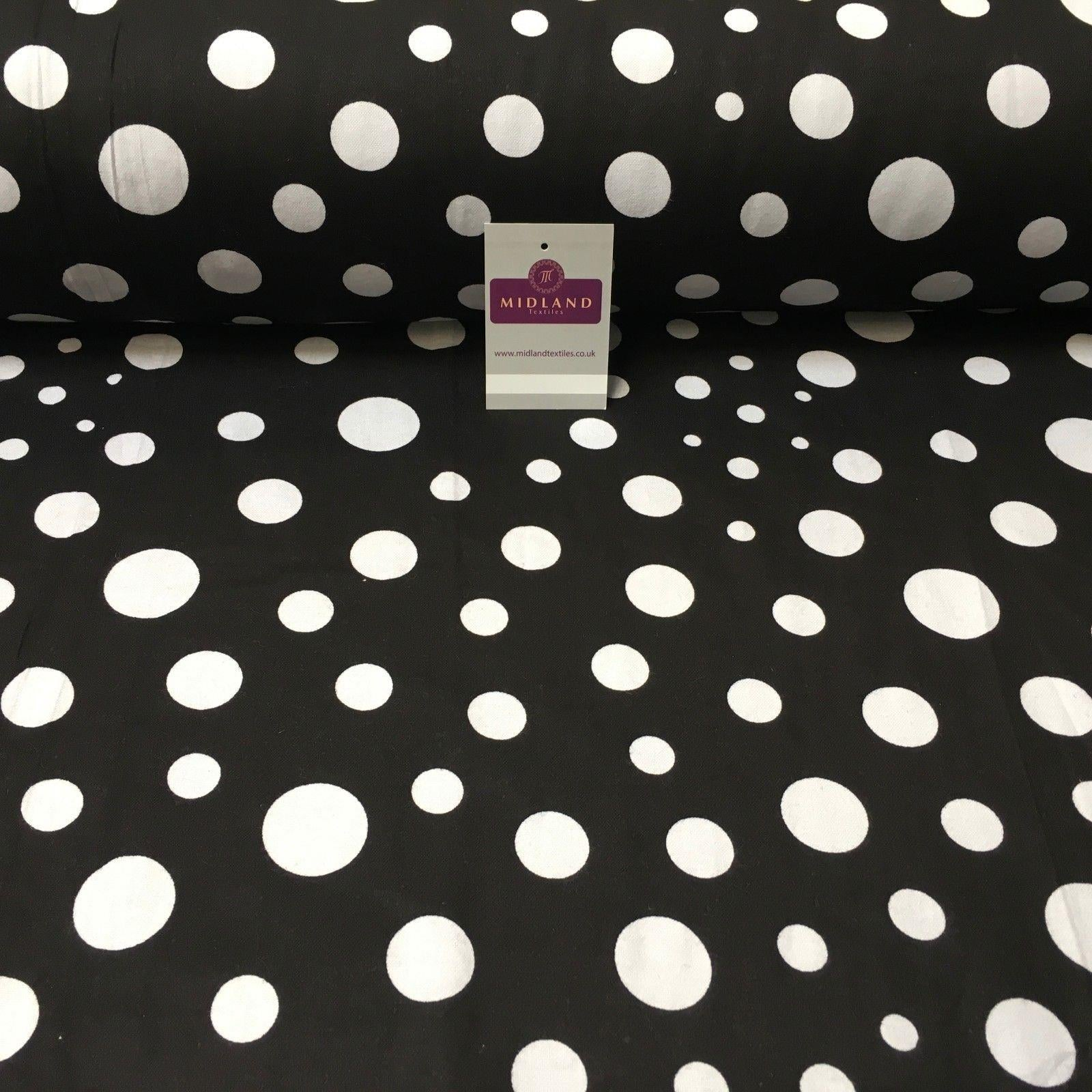 Black Large Spots Cotton Wynciette Soft Brushed Flannel Fabric MK988-6