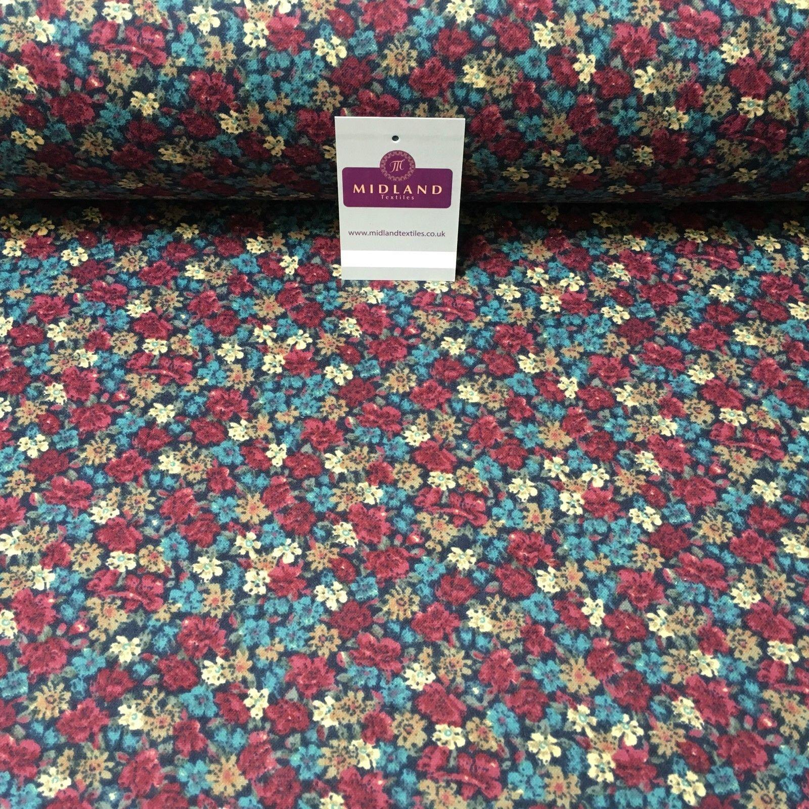 "Navy Floral Cotton Wynciette Soft Brushed Flannel Fabric 58"" Wide MK988-4"