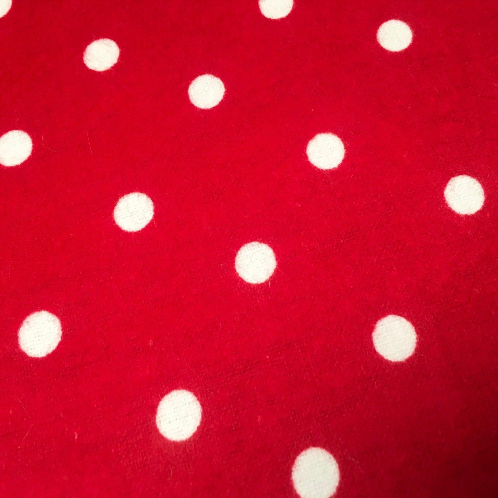 "White Spot on red  Cotton Wynciette Soft Brushed Flannel Fabric 58"" Wide MK988-1"