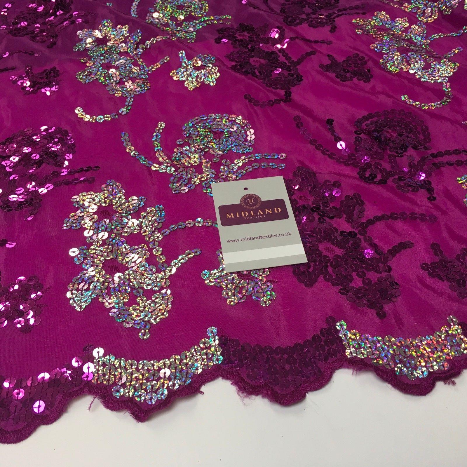 "Floral Sequins on crepe Fabric with scalloped edge 39""  Wide MK990"