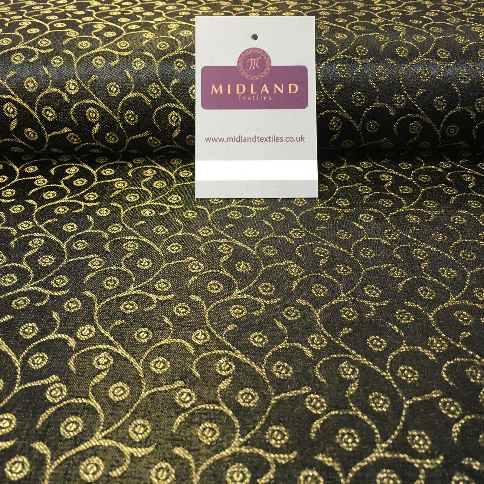 "Black Indian Banarsi Brocade faux silk wedding waistcoat fabric 44"" Wide M994"