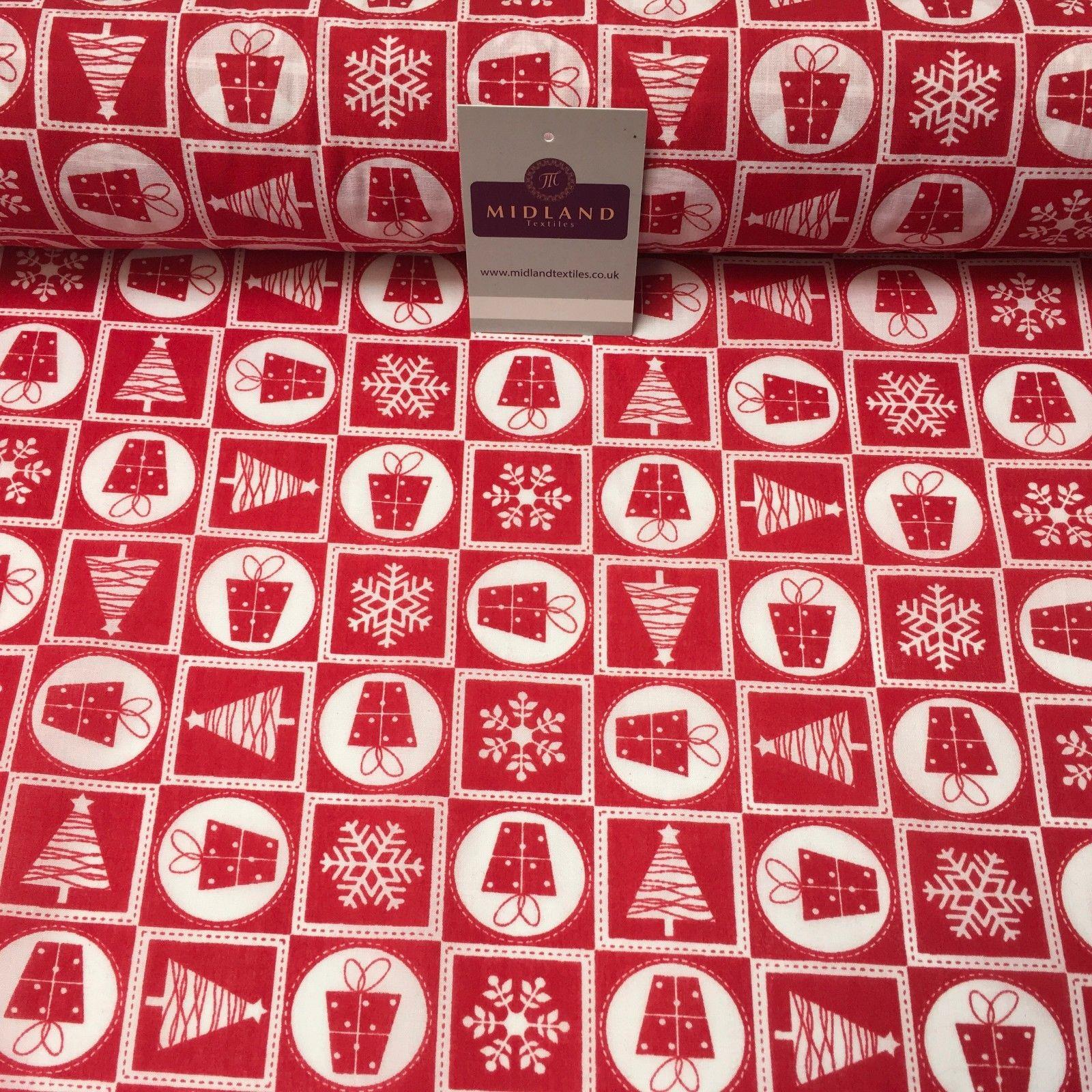 "Christmas Present, Snowflake tree Printed Polycotton fabric 44"" Wide MD1003"