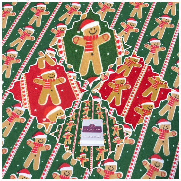 "Dancing Gingerbread Christmas Festive Printed Polycotton Fabric 44"" Wide MD1004"
