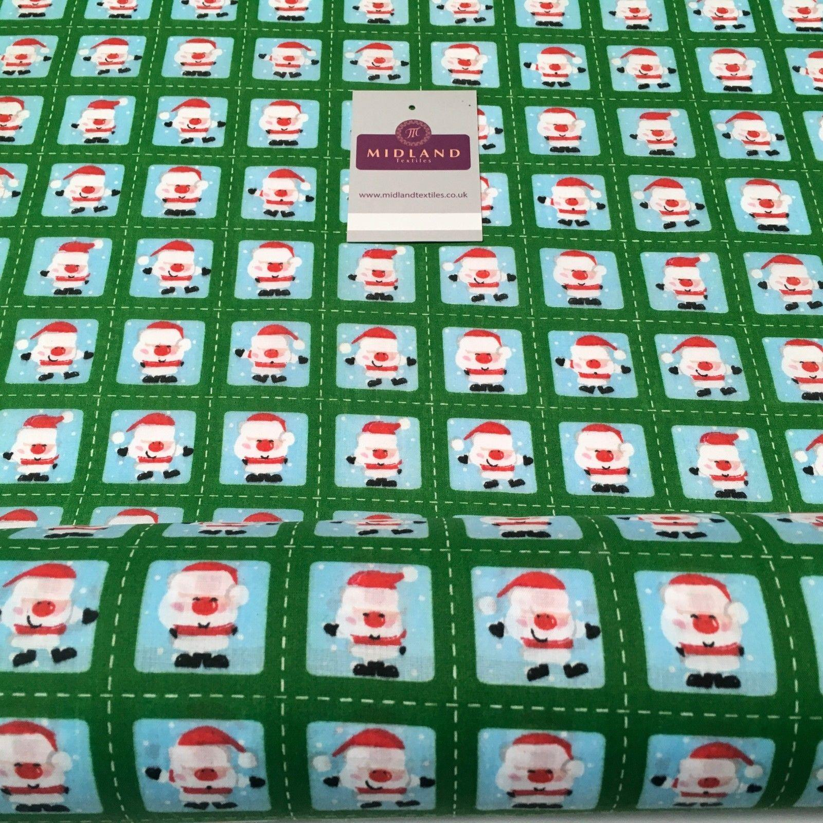 "Green Stamp Santa Christmas Polycotton Printed fabric 44"" Wide MD1002-1"