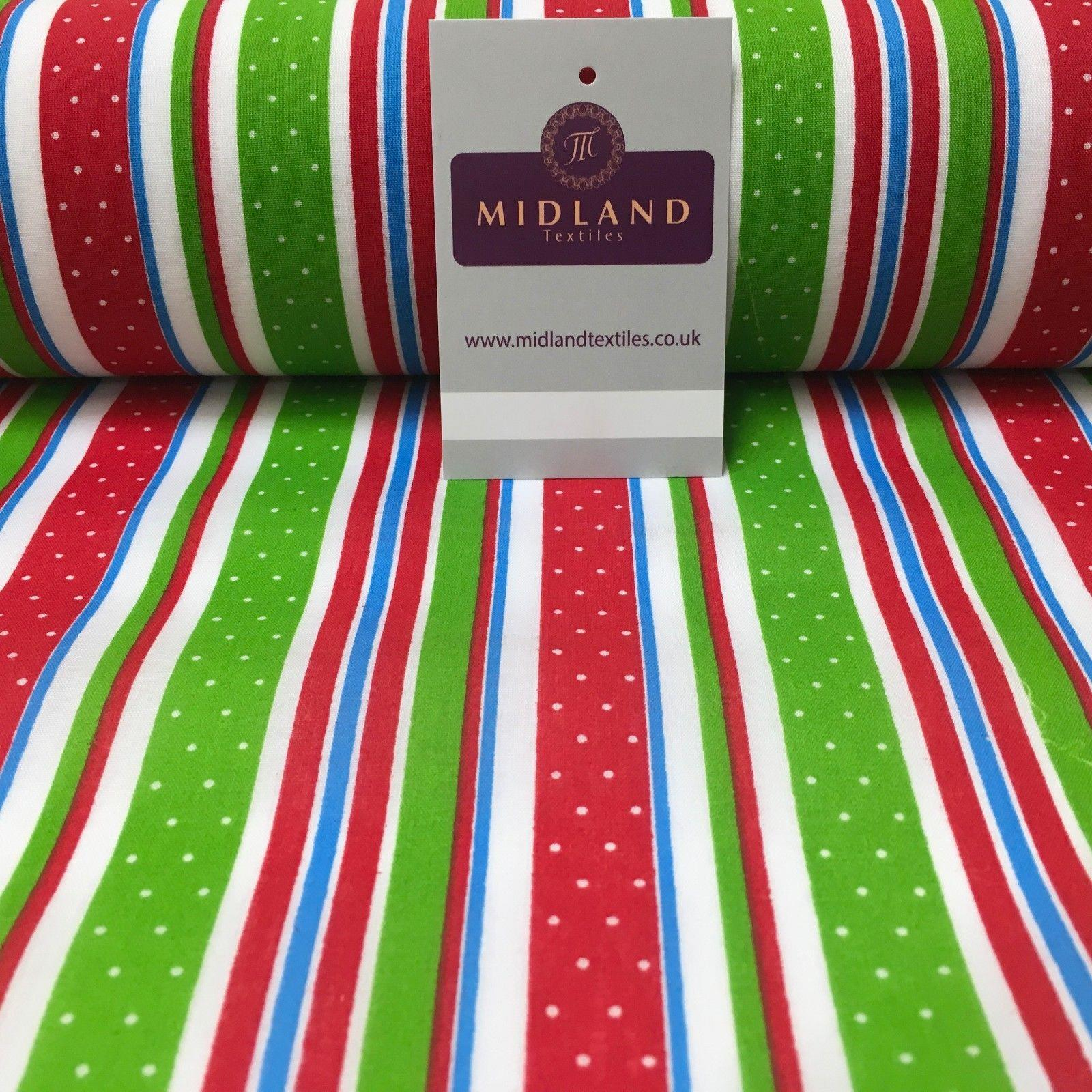 "Multicoloured Candy Stripe Christmas printed Polycotton fabric 44"" Wide MD1006"