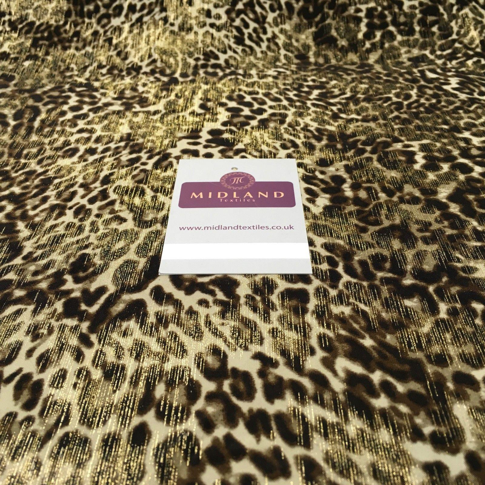 "Animal Print Stretch Jersey With gold foil dress fabric 58"" Wide MV1030 Mtex"