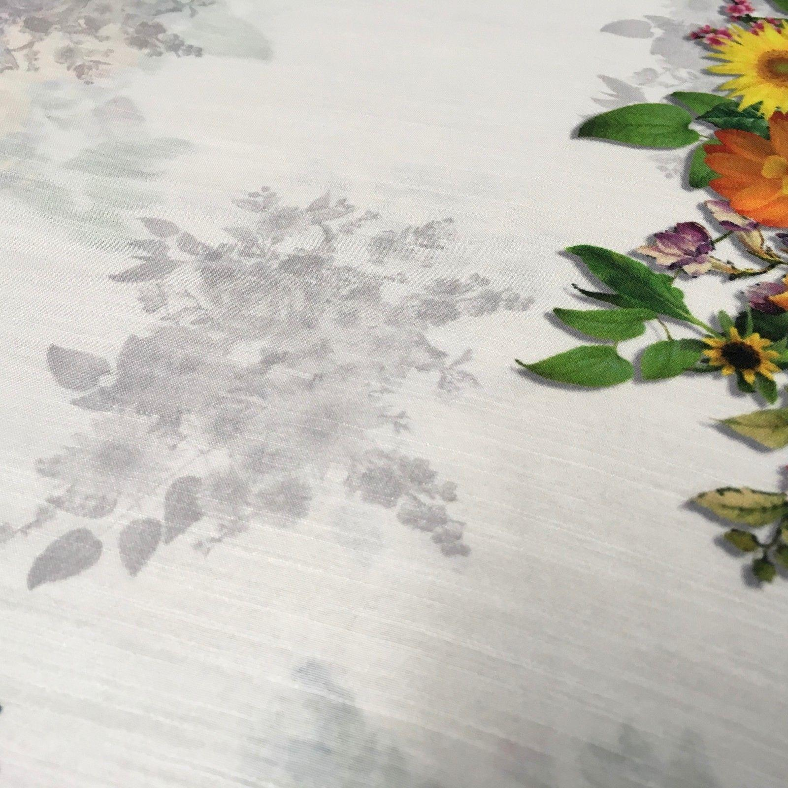 "White Floral Printed Poly Muslin Lightweight Fabric 44"" M1025 Mtex"