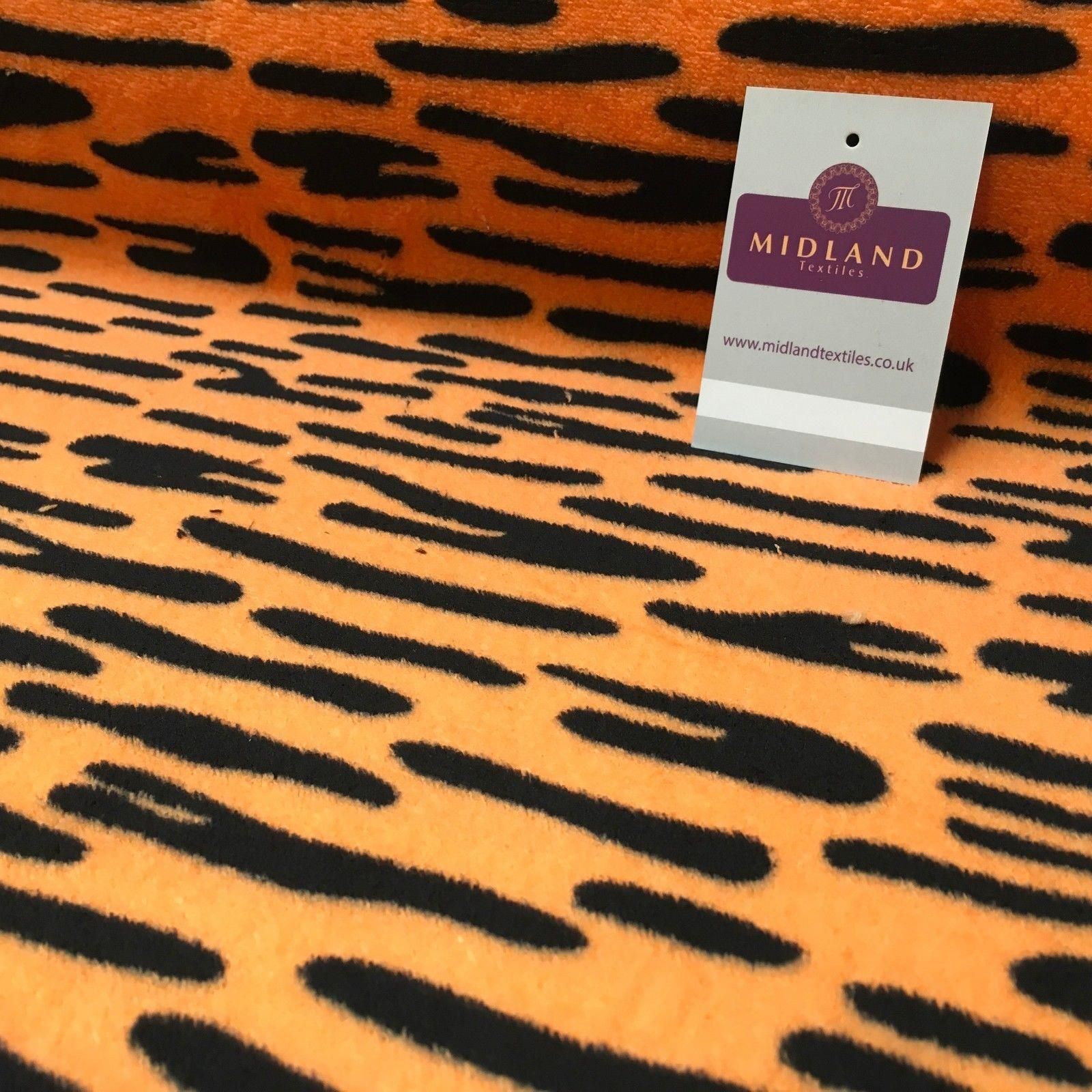 "Orange Tiger Printed Cuddle Fleece Fabric Ideal for craft 65"" Wide MH1034 Mtex"