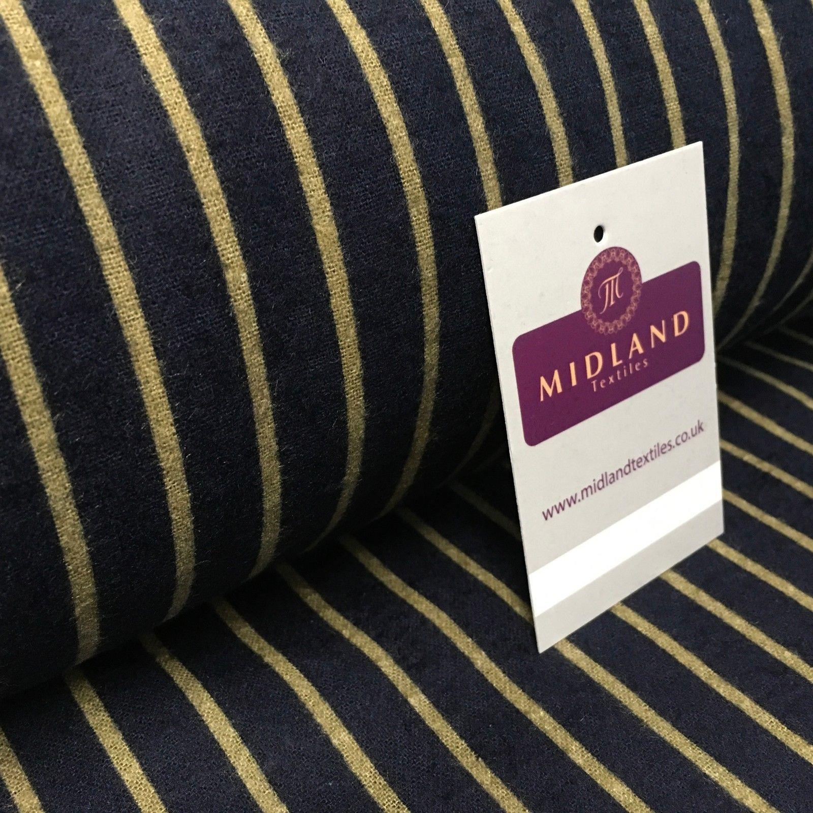 """Navy and Gold Striped Print Cotton Wynciette Brushed Flannel Fabric 58/"""" M1019-5"""