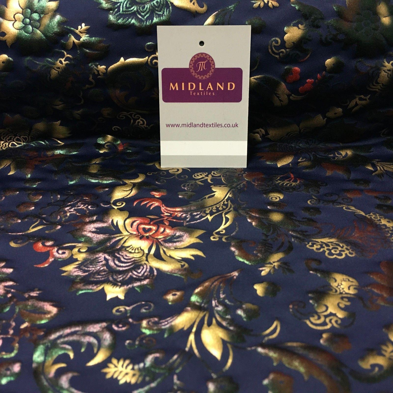 "Navy Multicoloured Spandex Jersey Floral Foil Print Dress fabric 58"" MU1023-1"