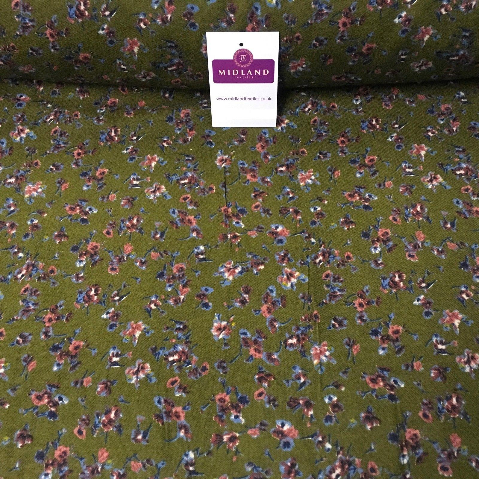 "Olive Green Floral Print Cotton Wynciette Brushed Flannel Fabric 58"" M1019-2"
