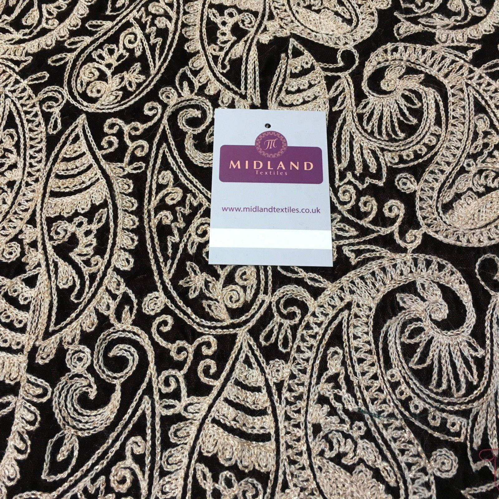 "metallic thread Paisley Embroidered Micro Velvet Dress Fabric 40"" M1038 Mtex"
