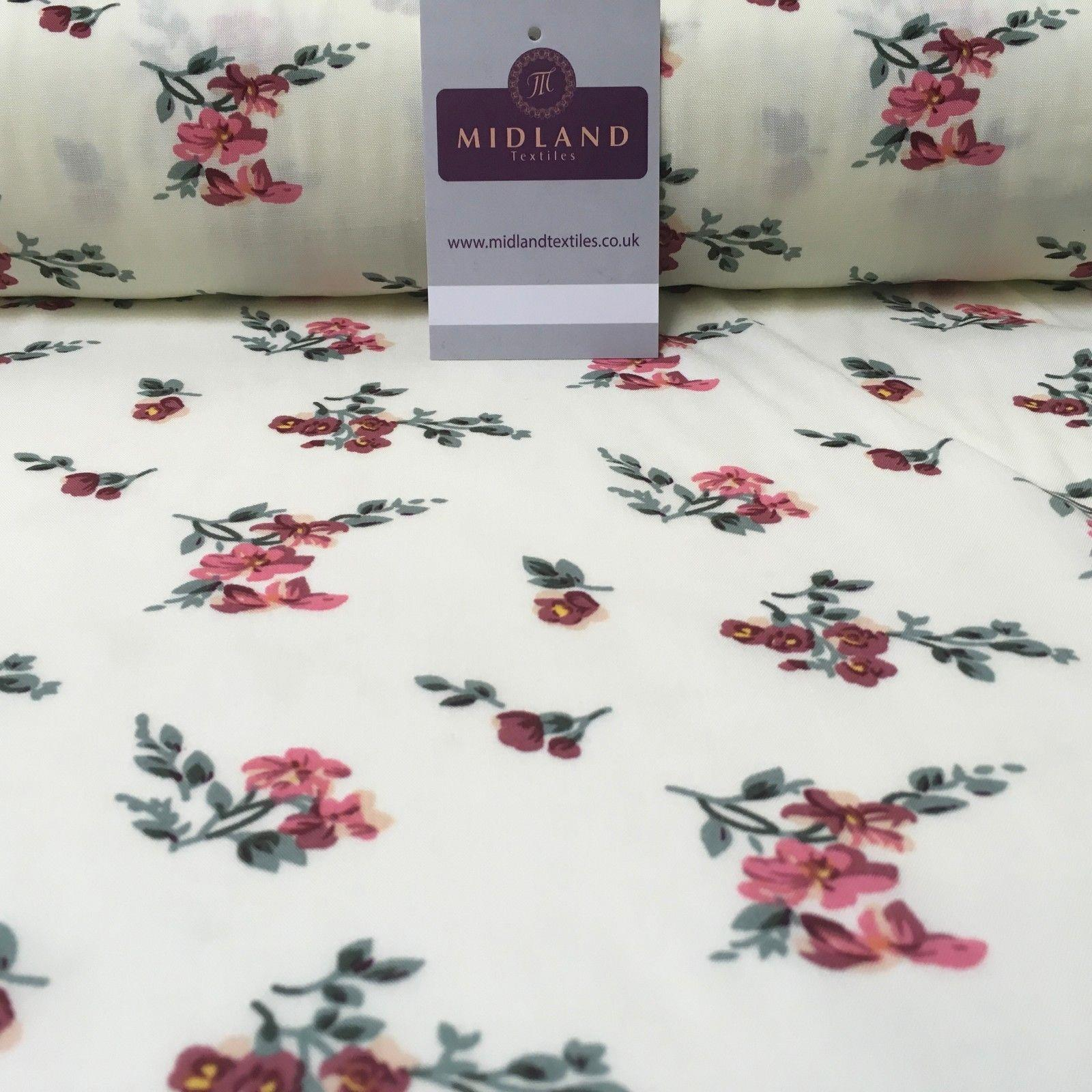 "Small Floral Vintage Printed Viscose Dress Fabric 58"" Wide MA1014 Mtex"