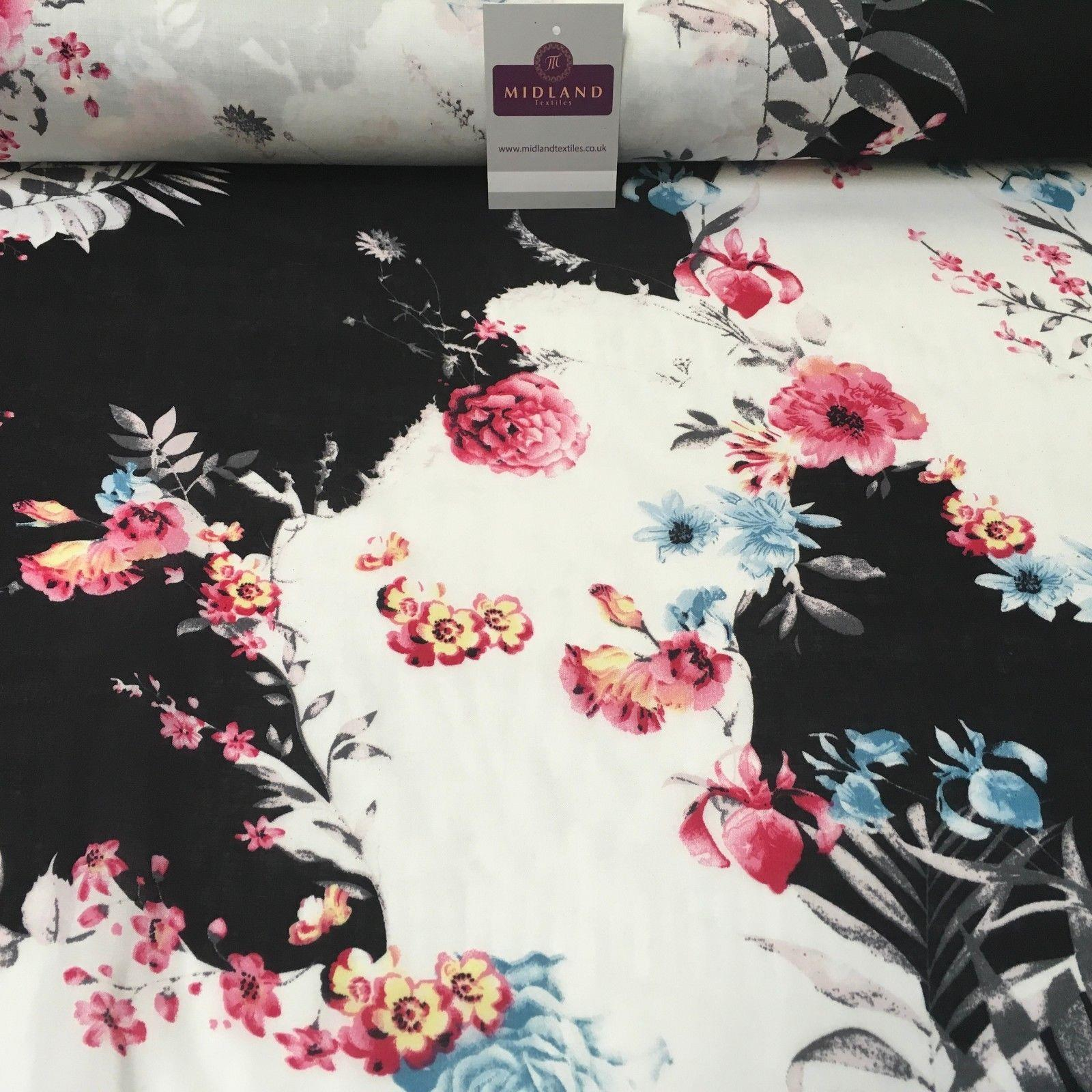 "Large Floral Vintage Printed Viscose Dress Fabric 58"" Wide MA1011 Mtex"