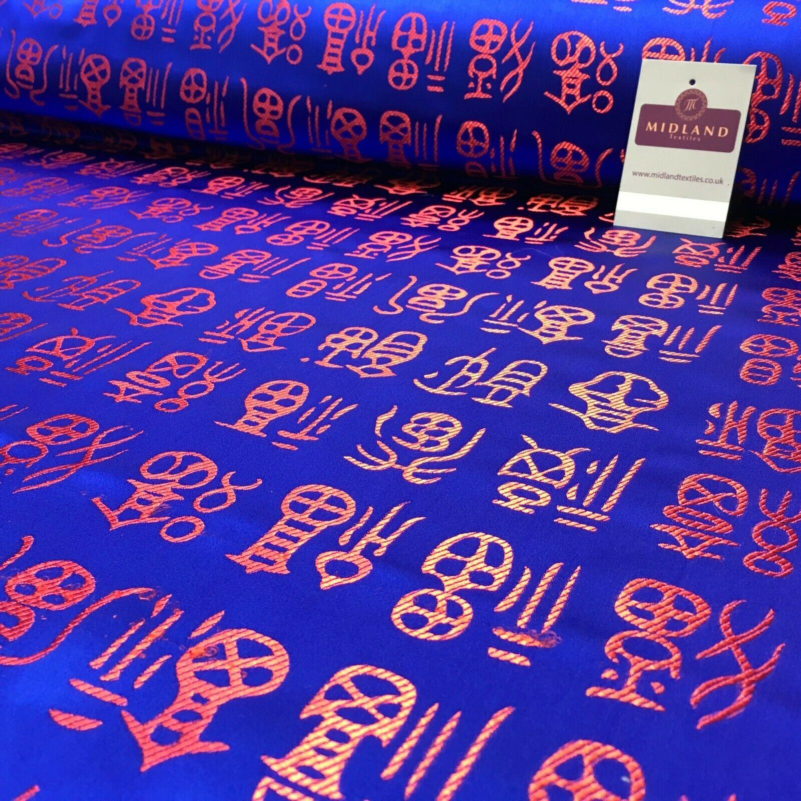 Royal Blue and Red Chinese Words Brocade Satin Dress Fabric 110cm Wide M395-29