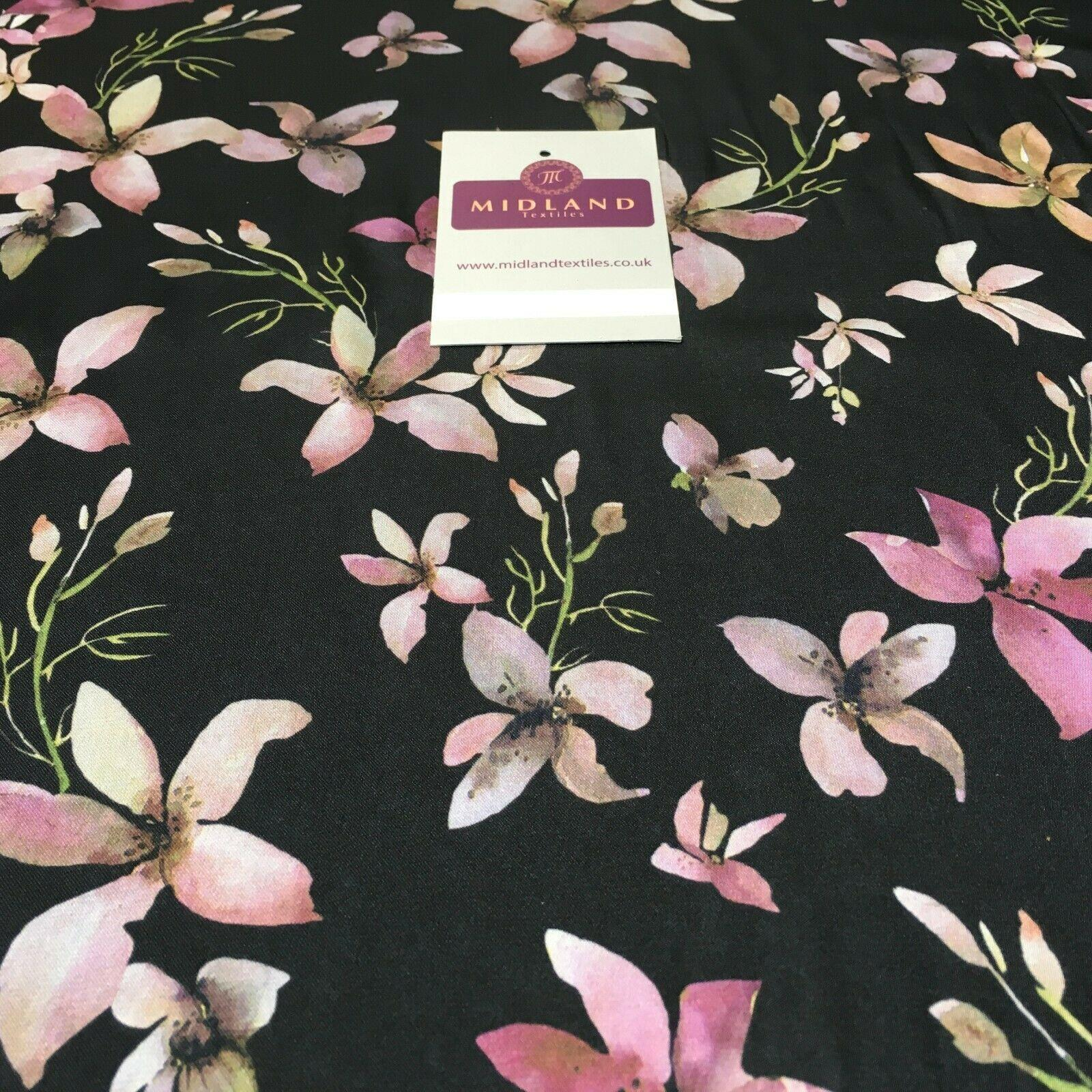 Floral Printed Silky Charmeuse Lightweight Satin Dress Fabric 150cm Wide MR1071