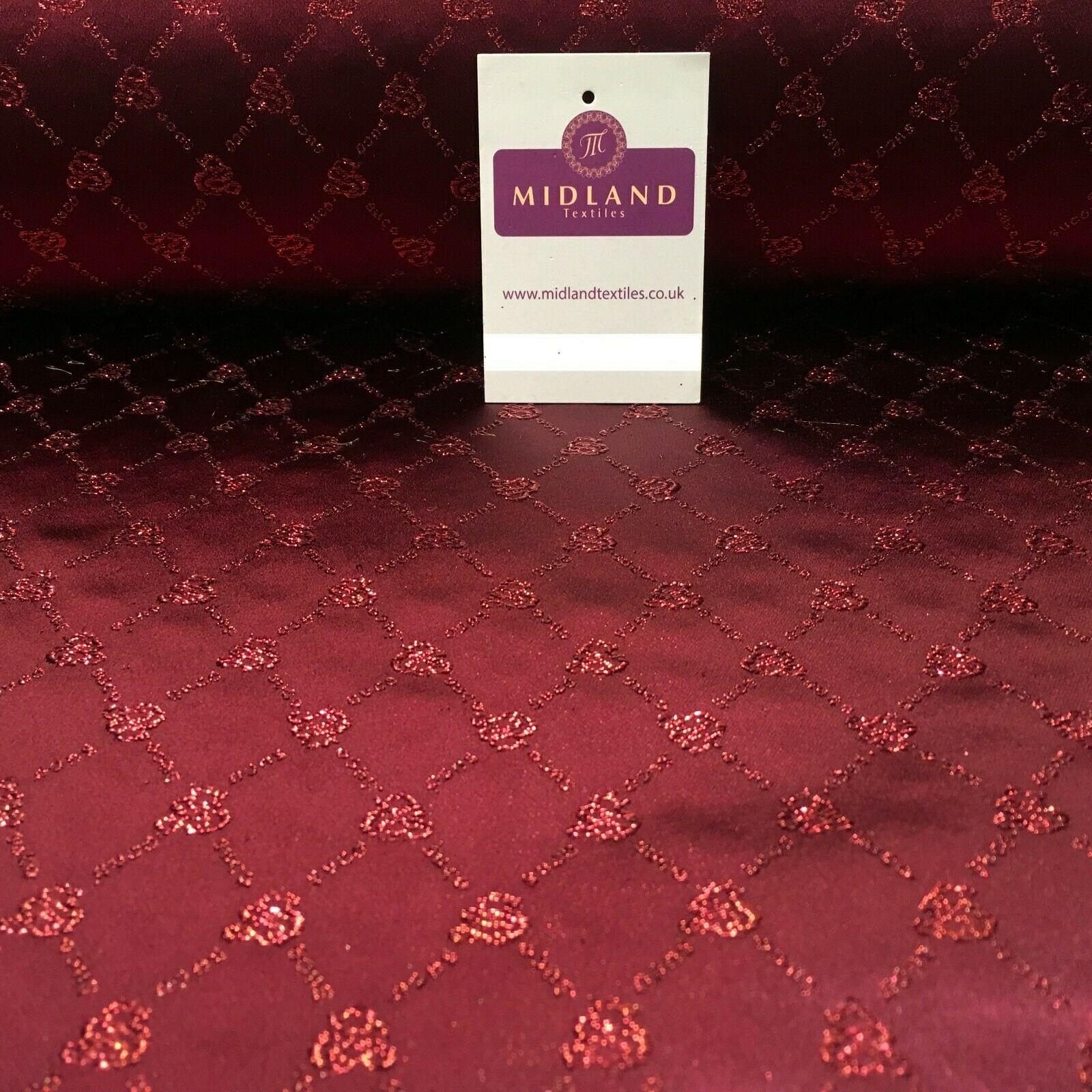 Maroon Glitter Chinese Brocade Satin Waistcoat Dress Fabric 110cm Wide M395-28