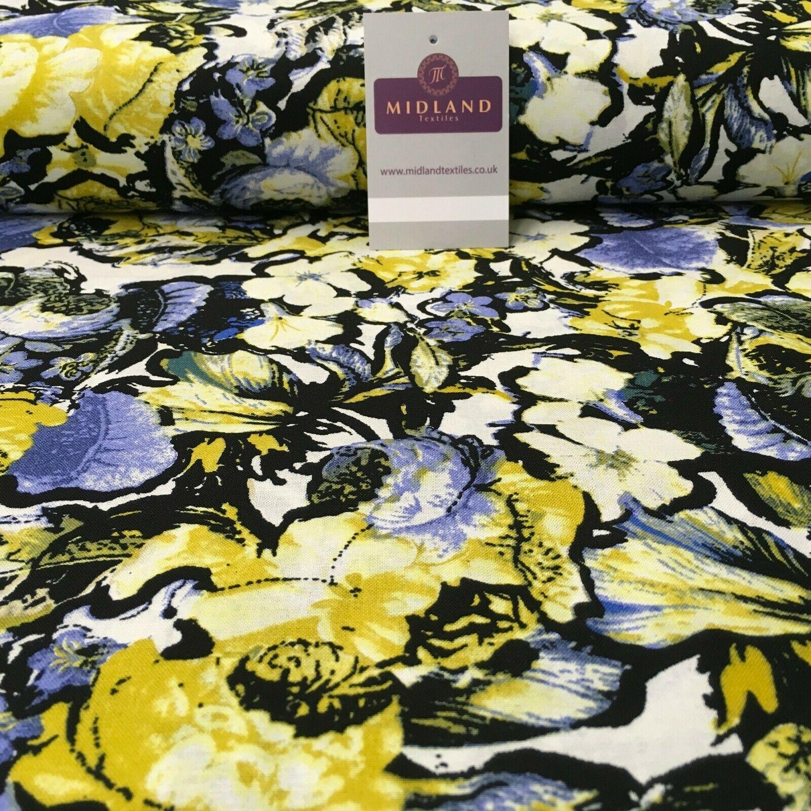 Lemon Blue Floral Printed Cotton Linen Dress Fabric 150cm Wide MK1086-8