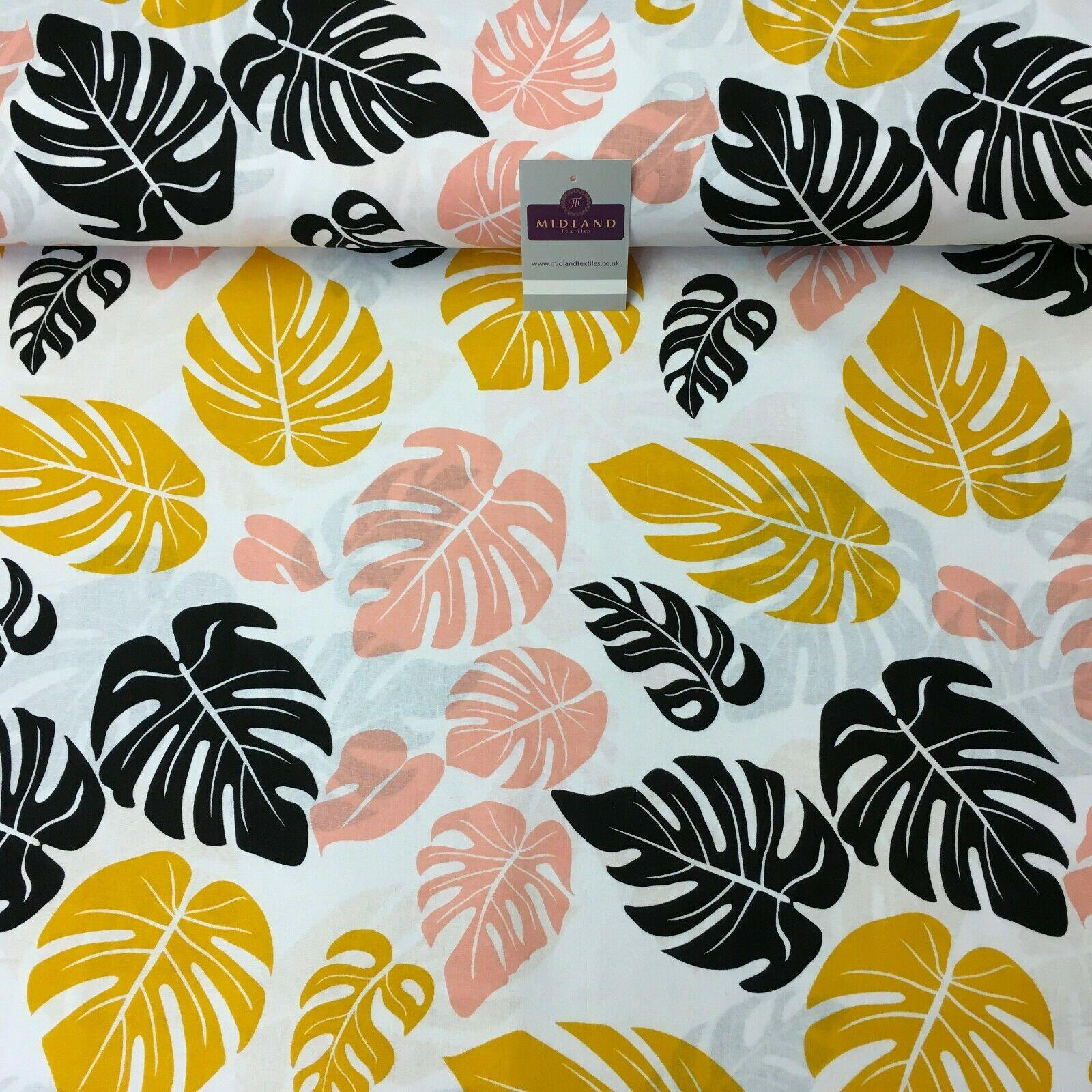 Mango Peach Leaf Printed Cotton Linen Dress Fabric 150cm Wide MK1086-14