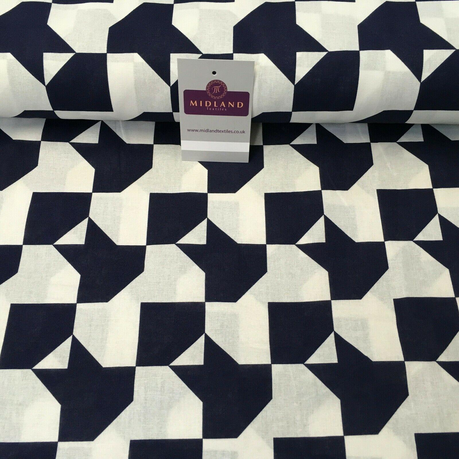 Navy Geometric Printed Cotton Linen Dress Fabric 150cm Wide MK1086-2