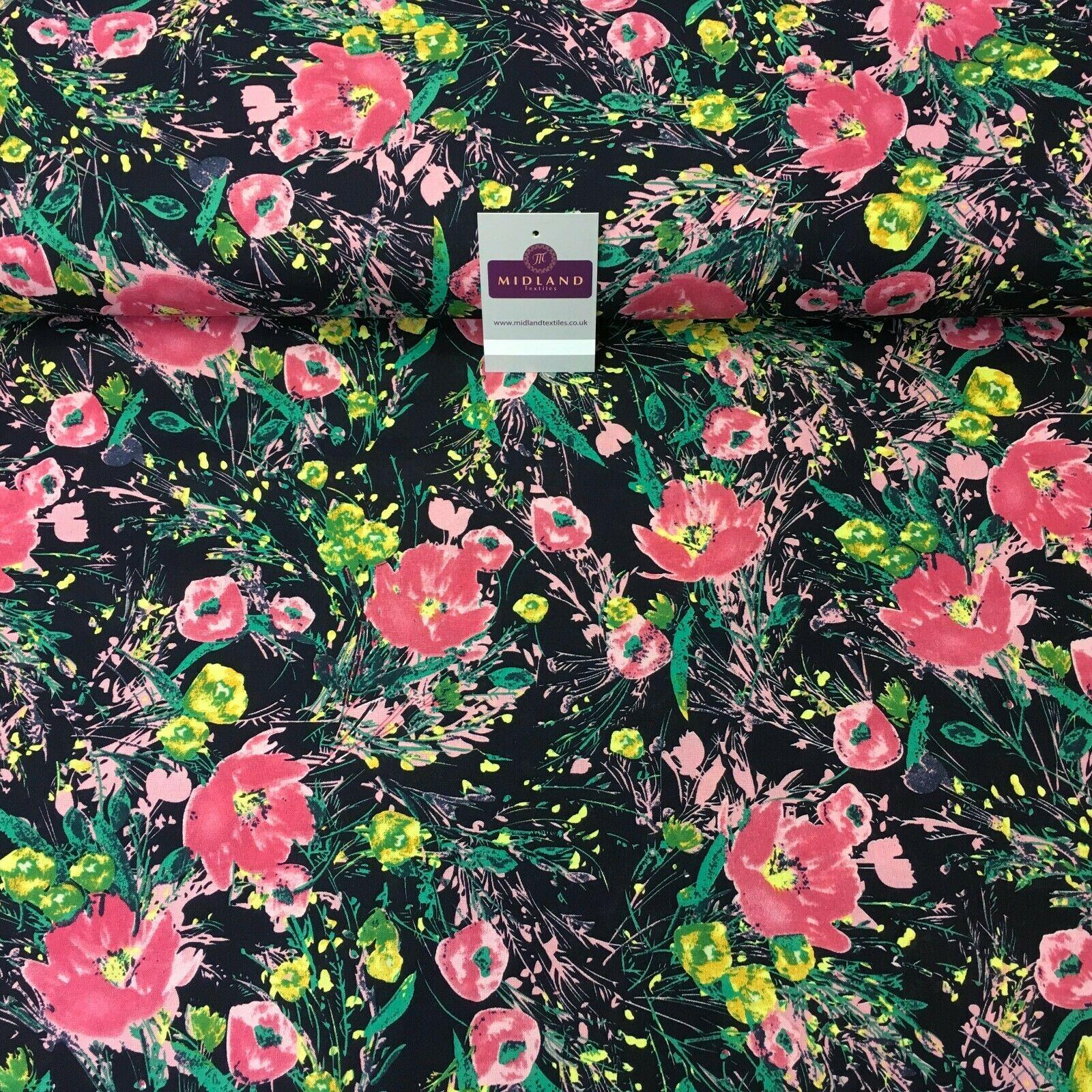 Navy Pink Floral Printed Cotton Linen Dress Fabric 150cm Wide MK1086-13