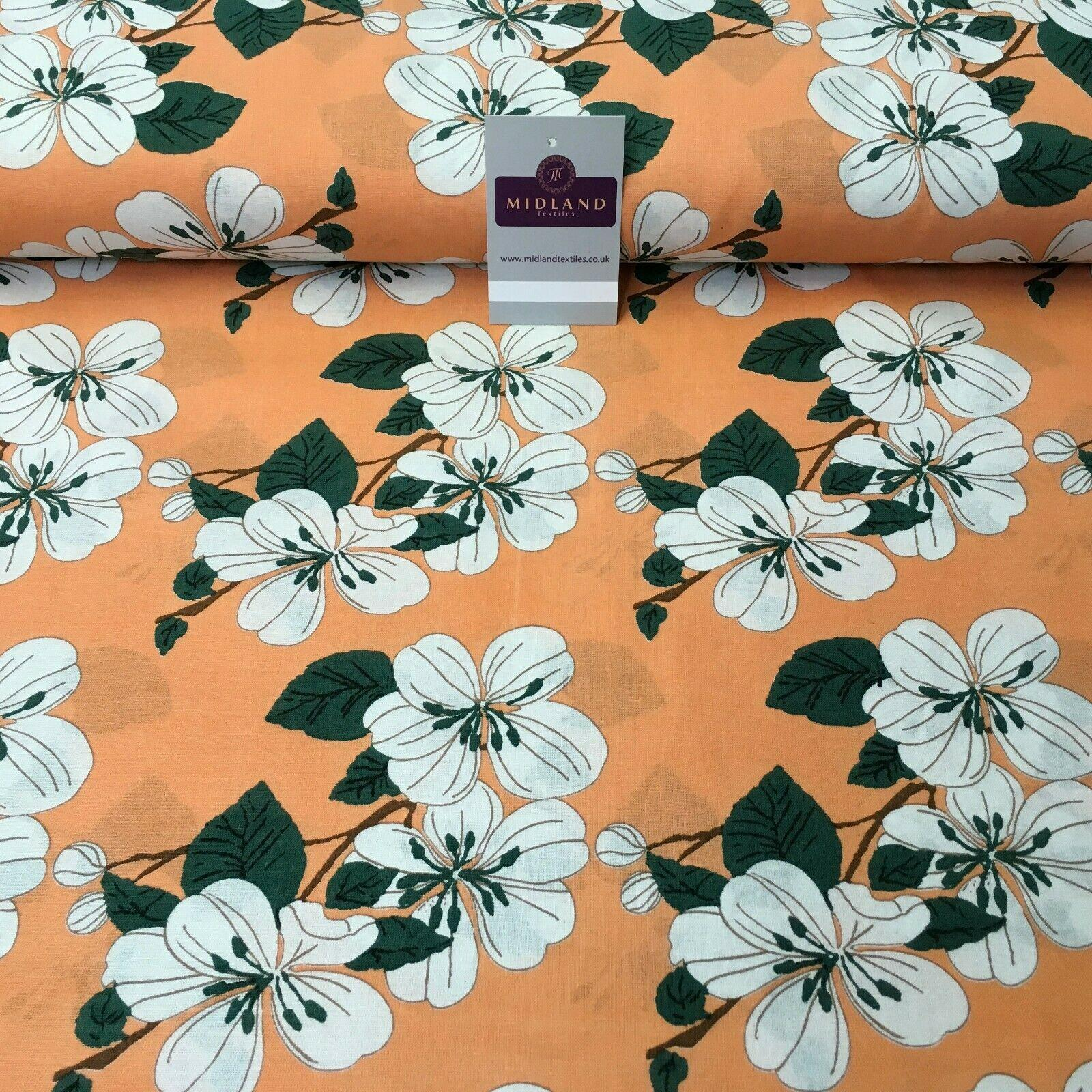 Peach Floral Printed Cotton Linen Dress Fabric 150cm Wide MK1086-3