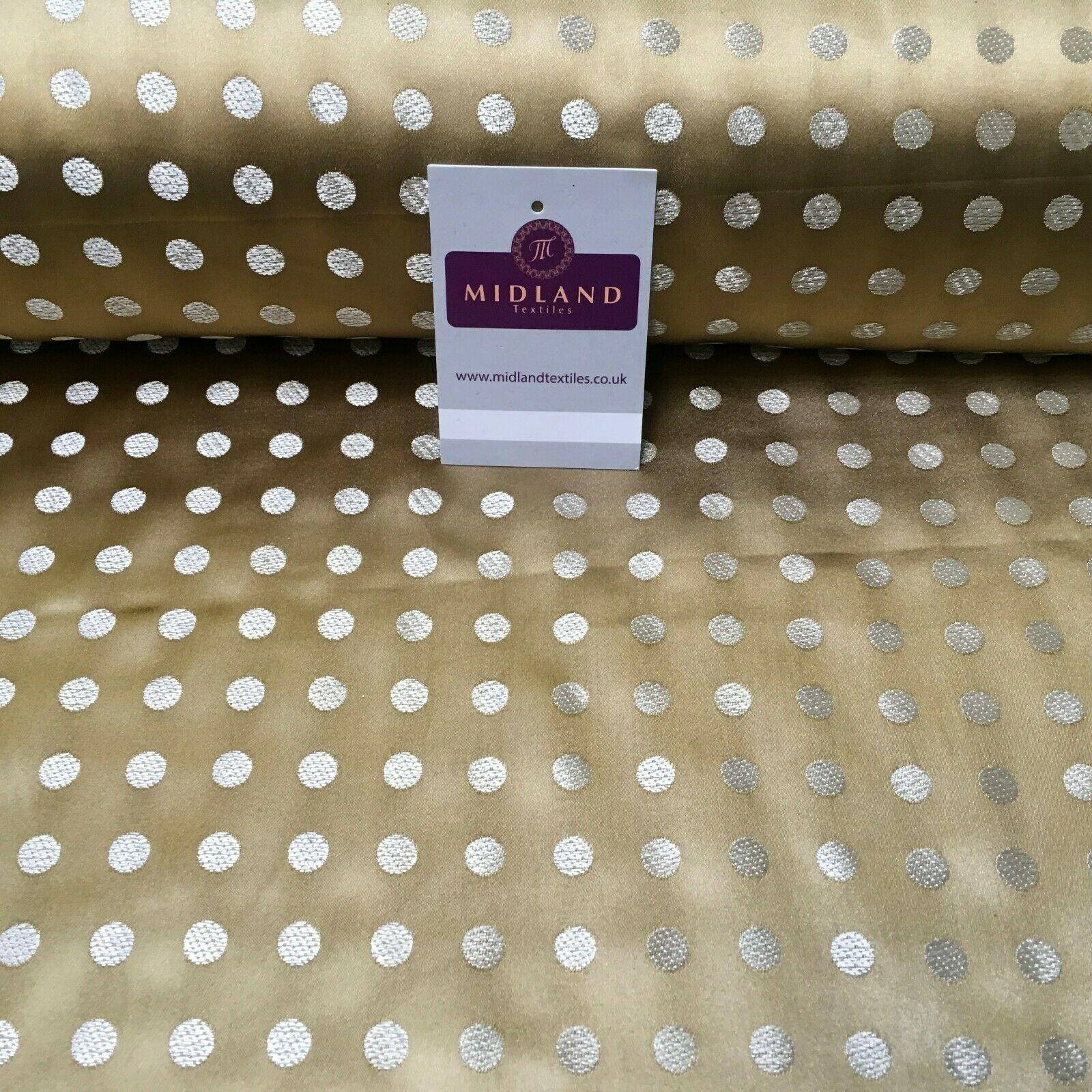 Old Gold Small Polka Dot Satin Brocade Dress Fabric 110cm Wide M395-30