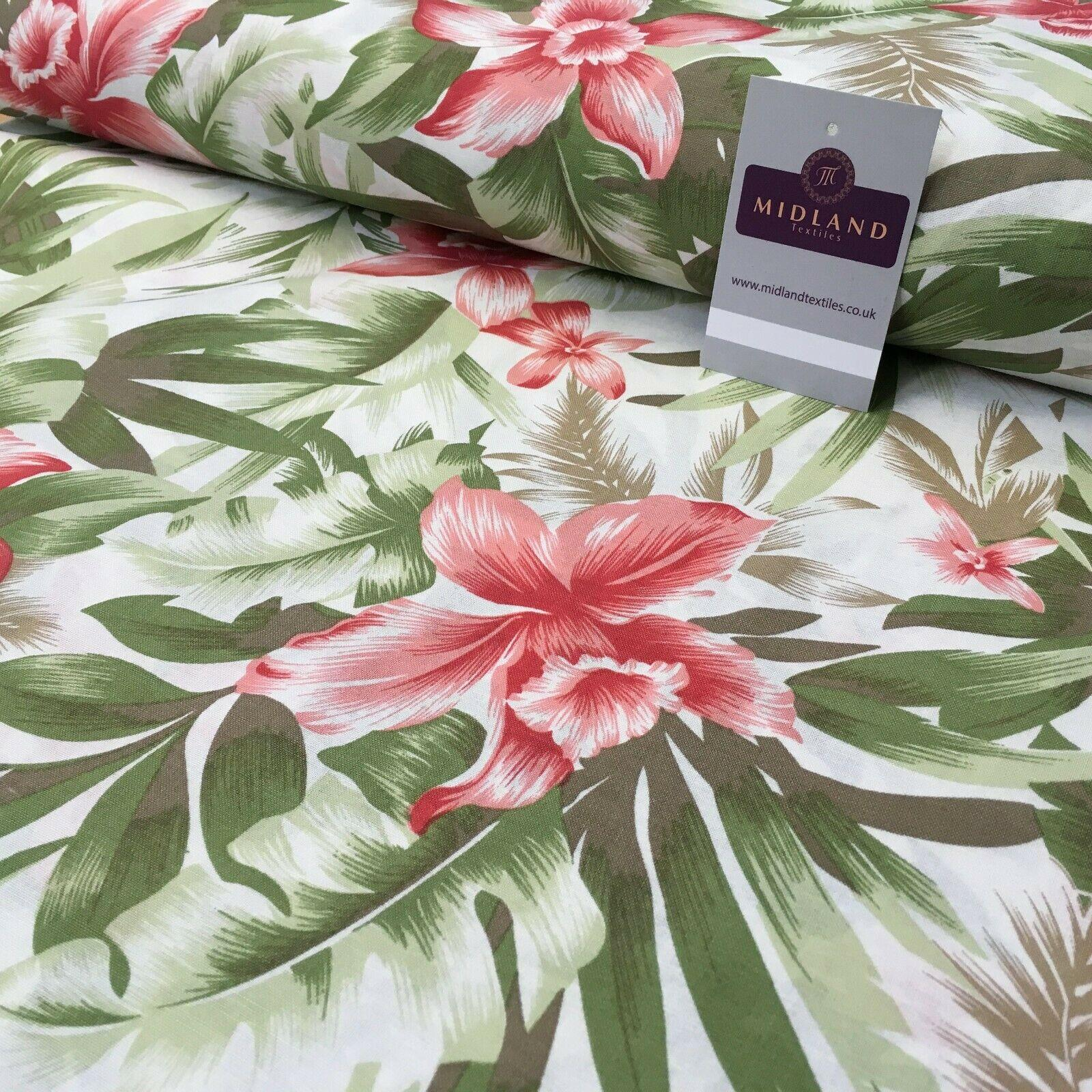 Rose Green Floral Printed Cotton Linen Dress Fabric 150cm Wide MK1086-4
