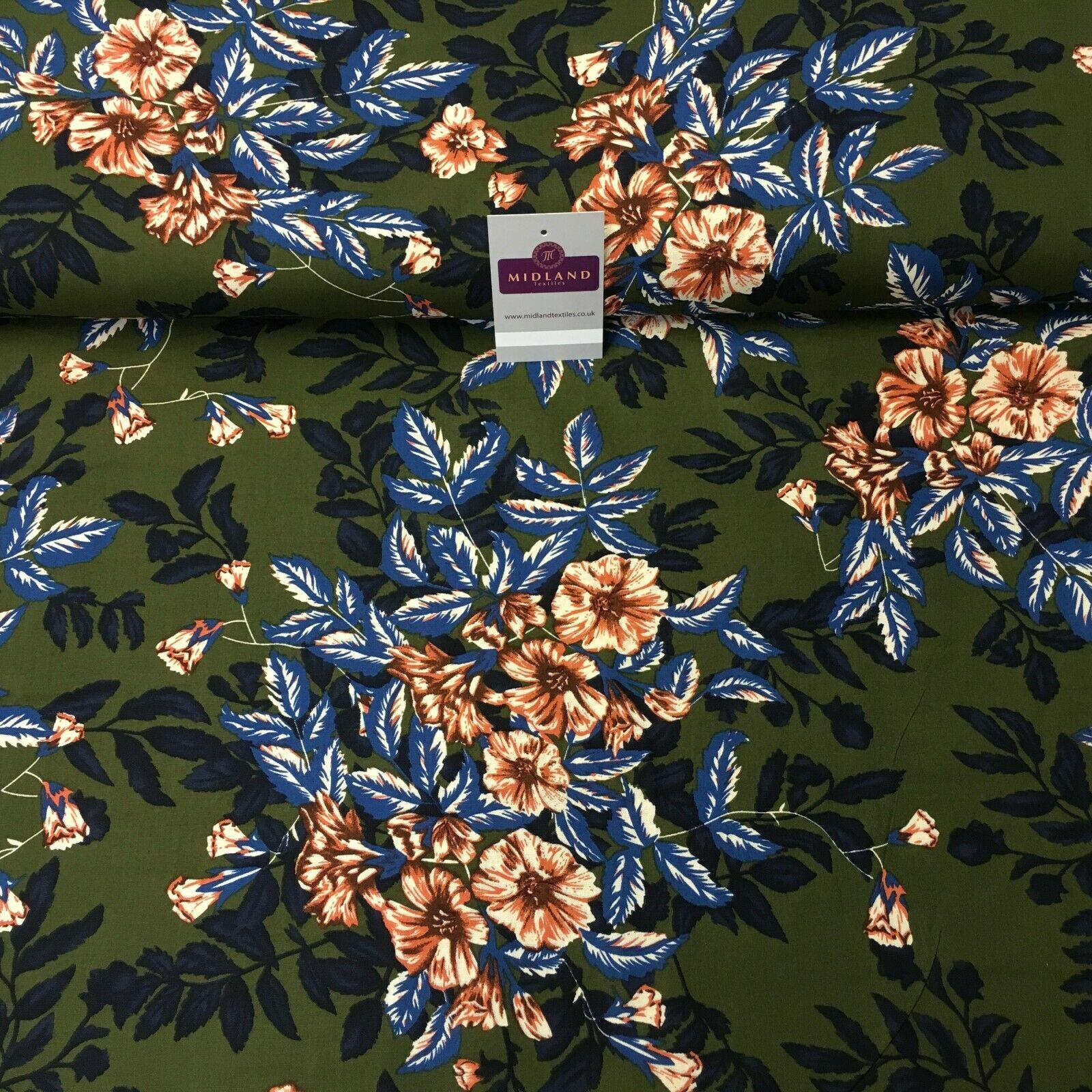 Olive Blue Floral Printed Cotton Linen Dress Fabric 150cm Wide MK1086-7