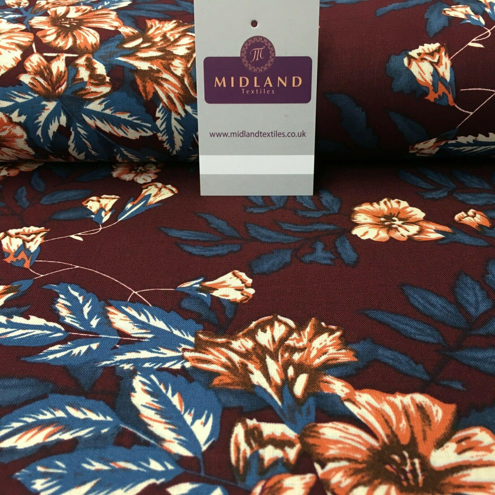 Wine Teal Floral Printed Cotton Linen Dress Fabric 150cm Wide MK1086-9