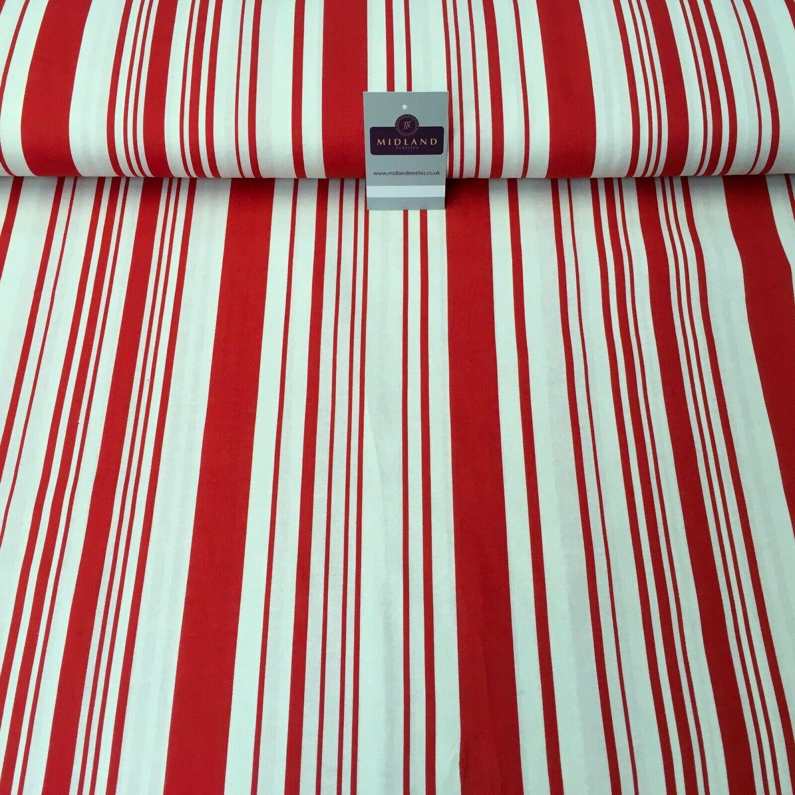 Red Striped Printed Cotton Linen Dress Fabric 150cm Wide MK1086-5