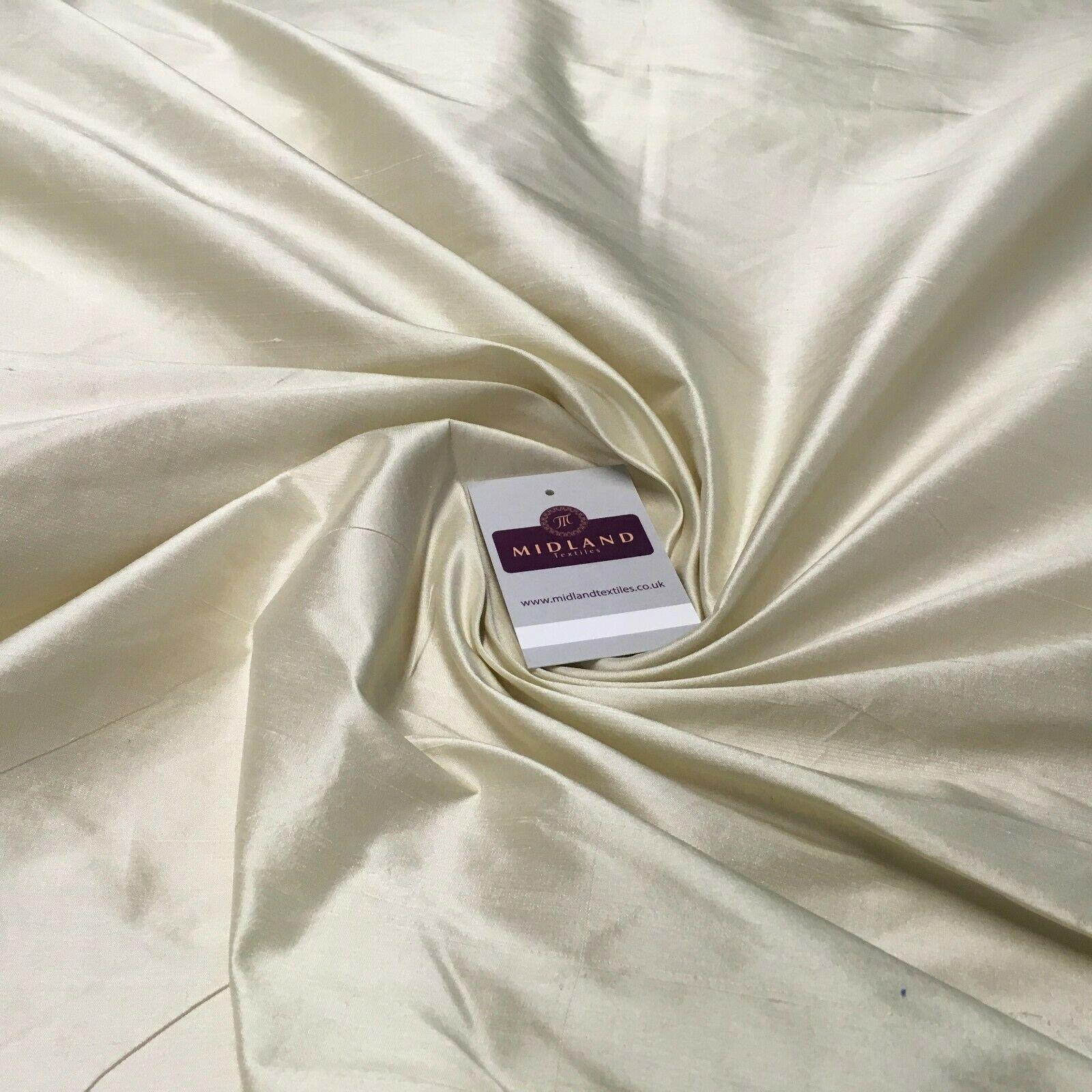 Cream Pure Silk Power Loom Dupion Fabric 264cm Wide MA1065 Mtex